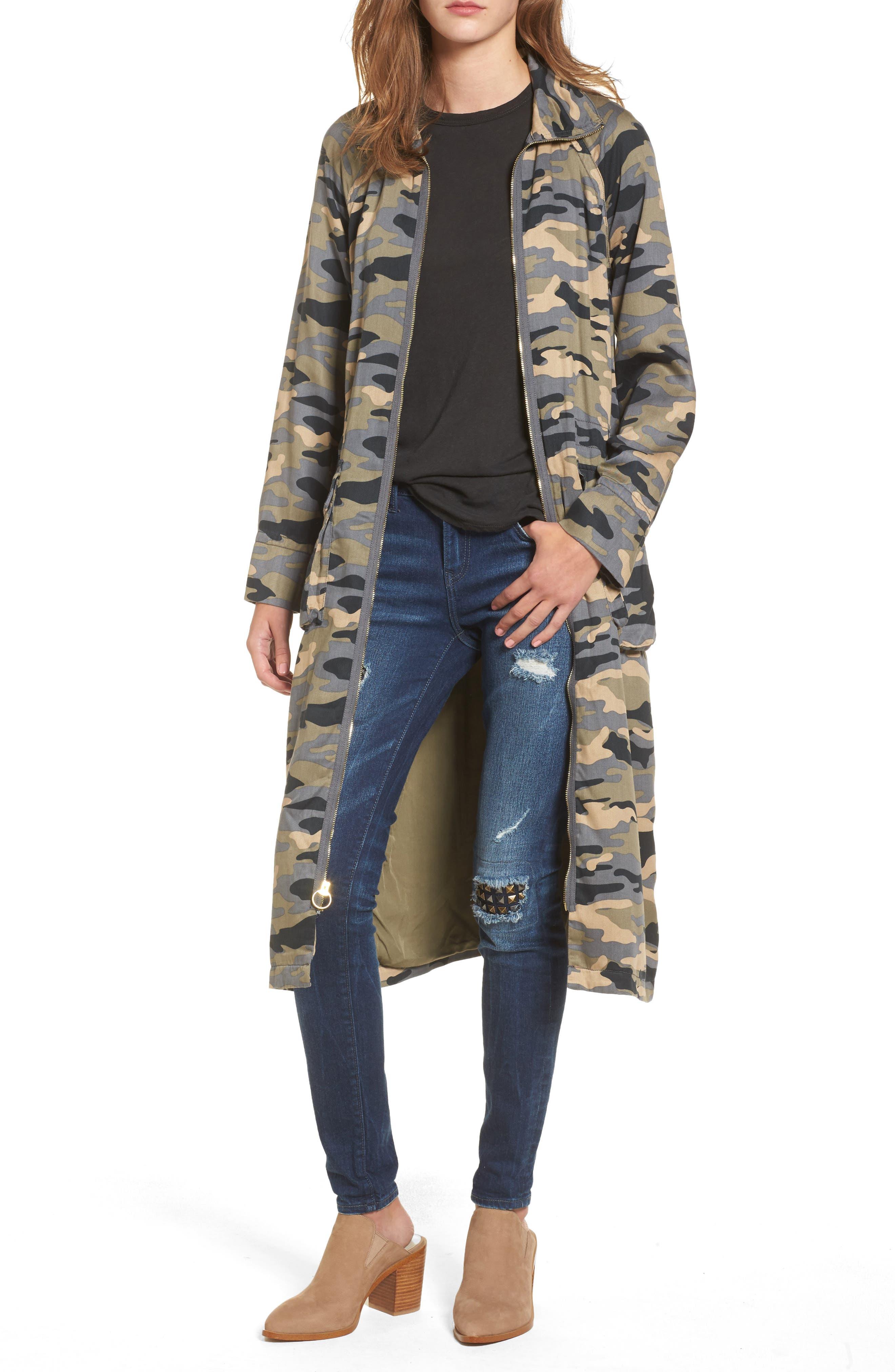 Biker Trench Coat,                         Main,                         color, Camo