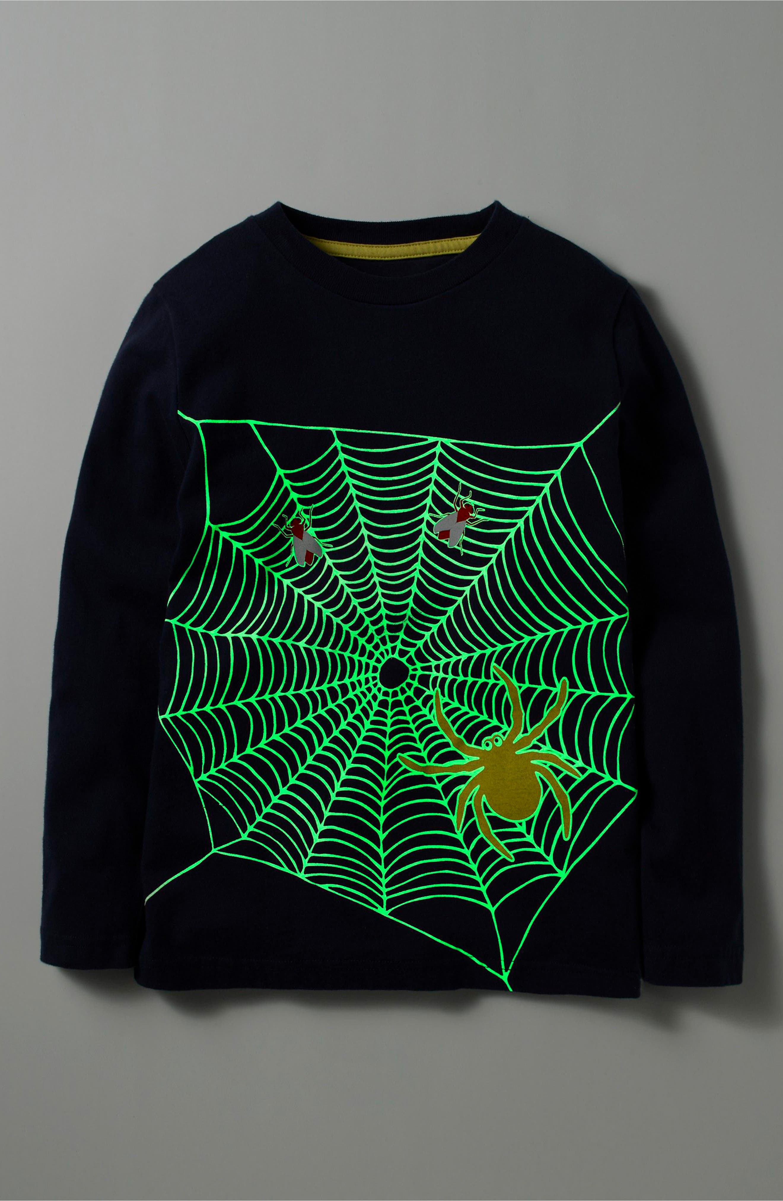 Spooky Glow T-Shirt,                             Alternate thumbnail 2, color,                             Navy Spider