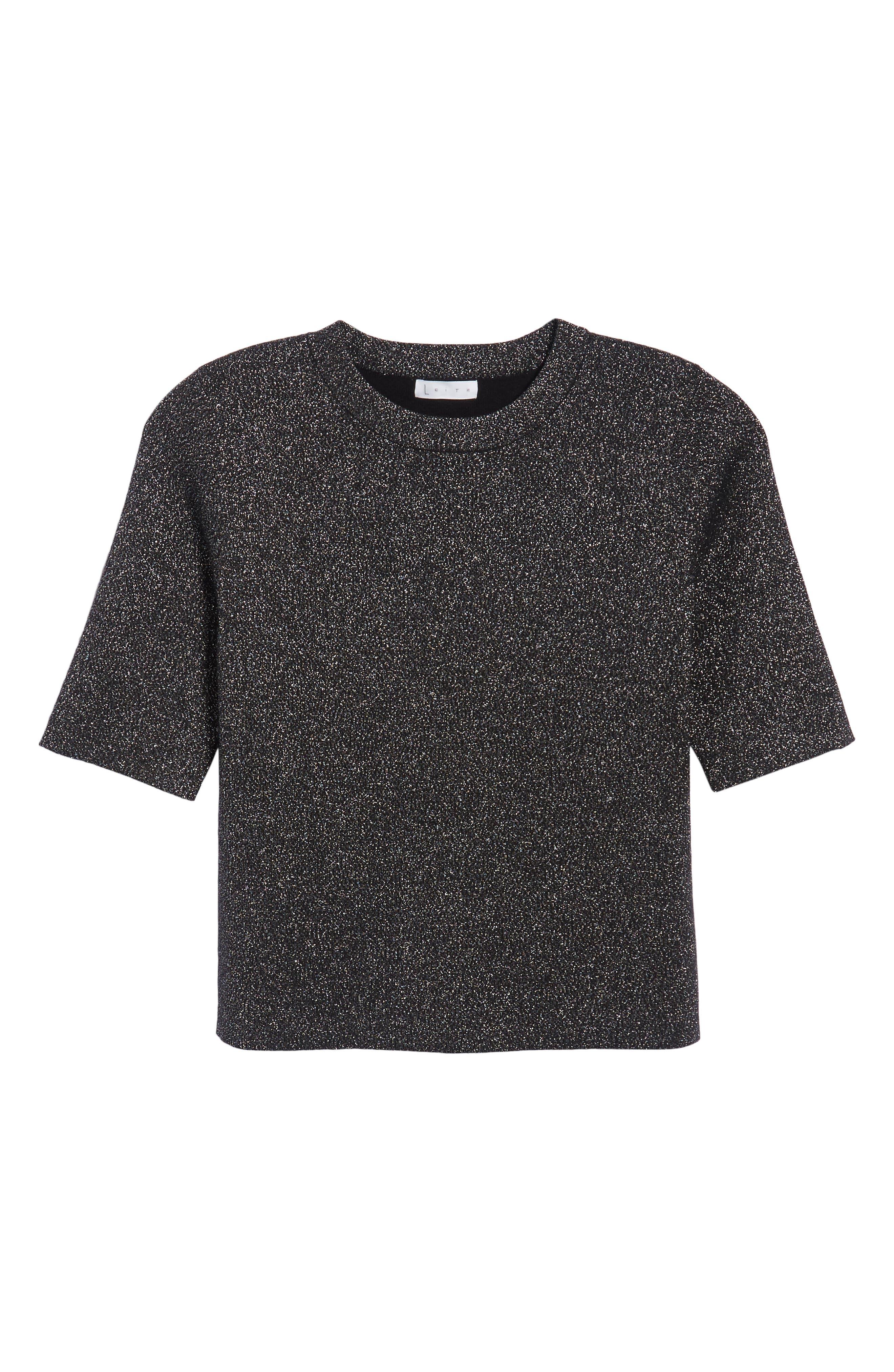 Crop Metallic Sweater,                             Alternate thumbnail 7, color,                             Black Metallic