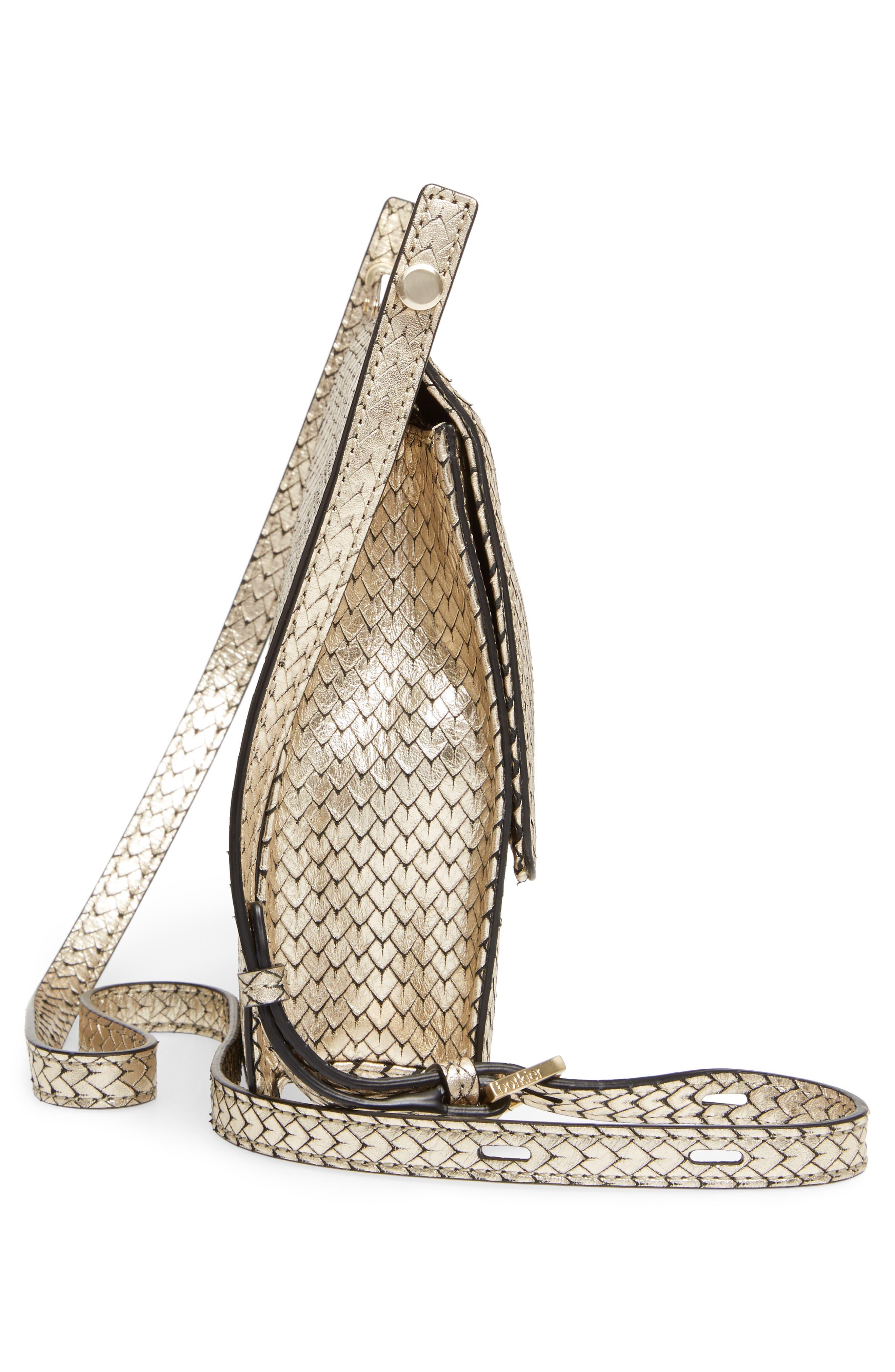 Crawford Calfskin Leather Crossbody Bag,                             Alternate thumbnail 5, color,                             Gold