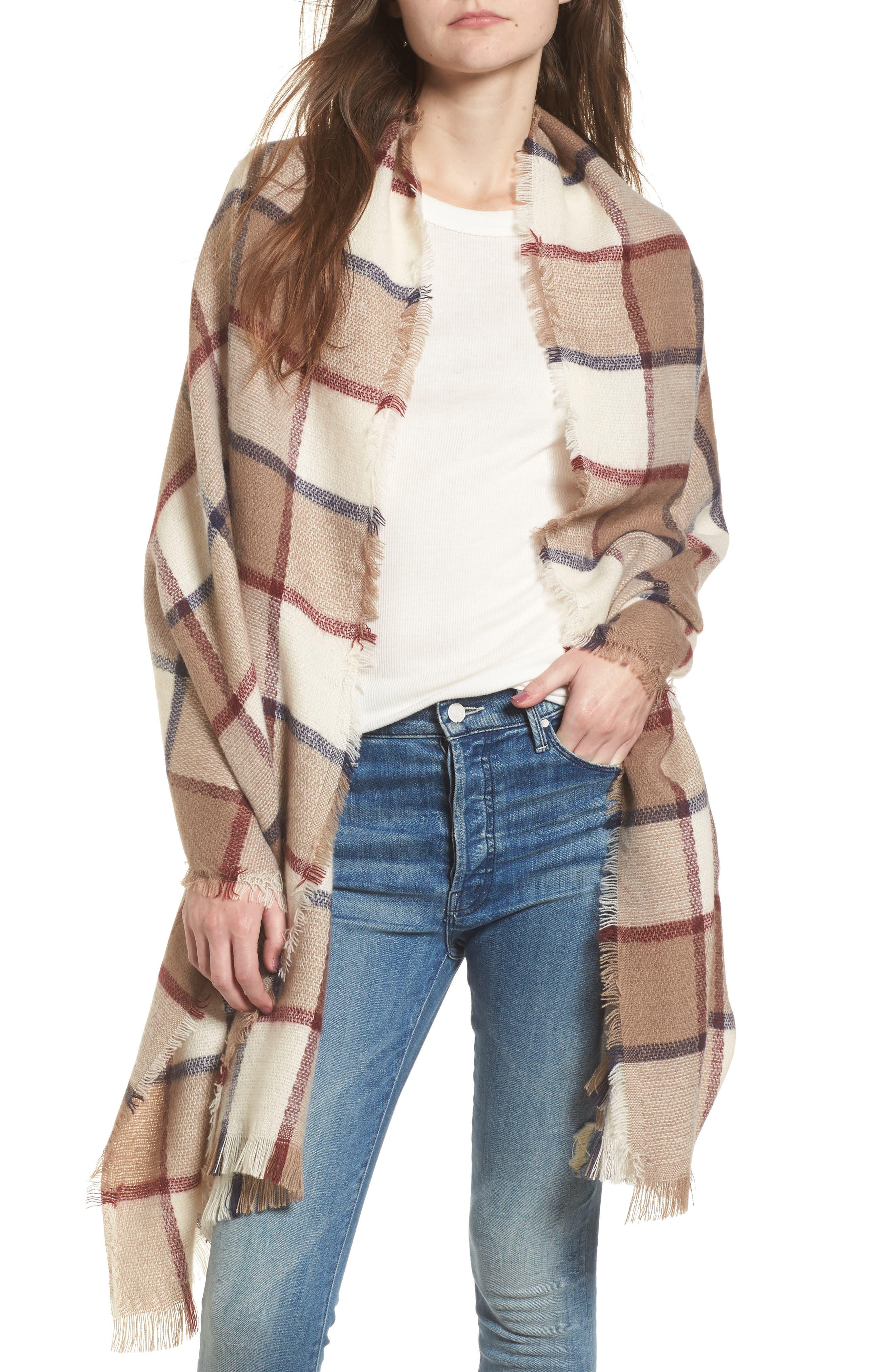 Main Image - Sole Society Windowpane Check Blanket Scarf