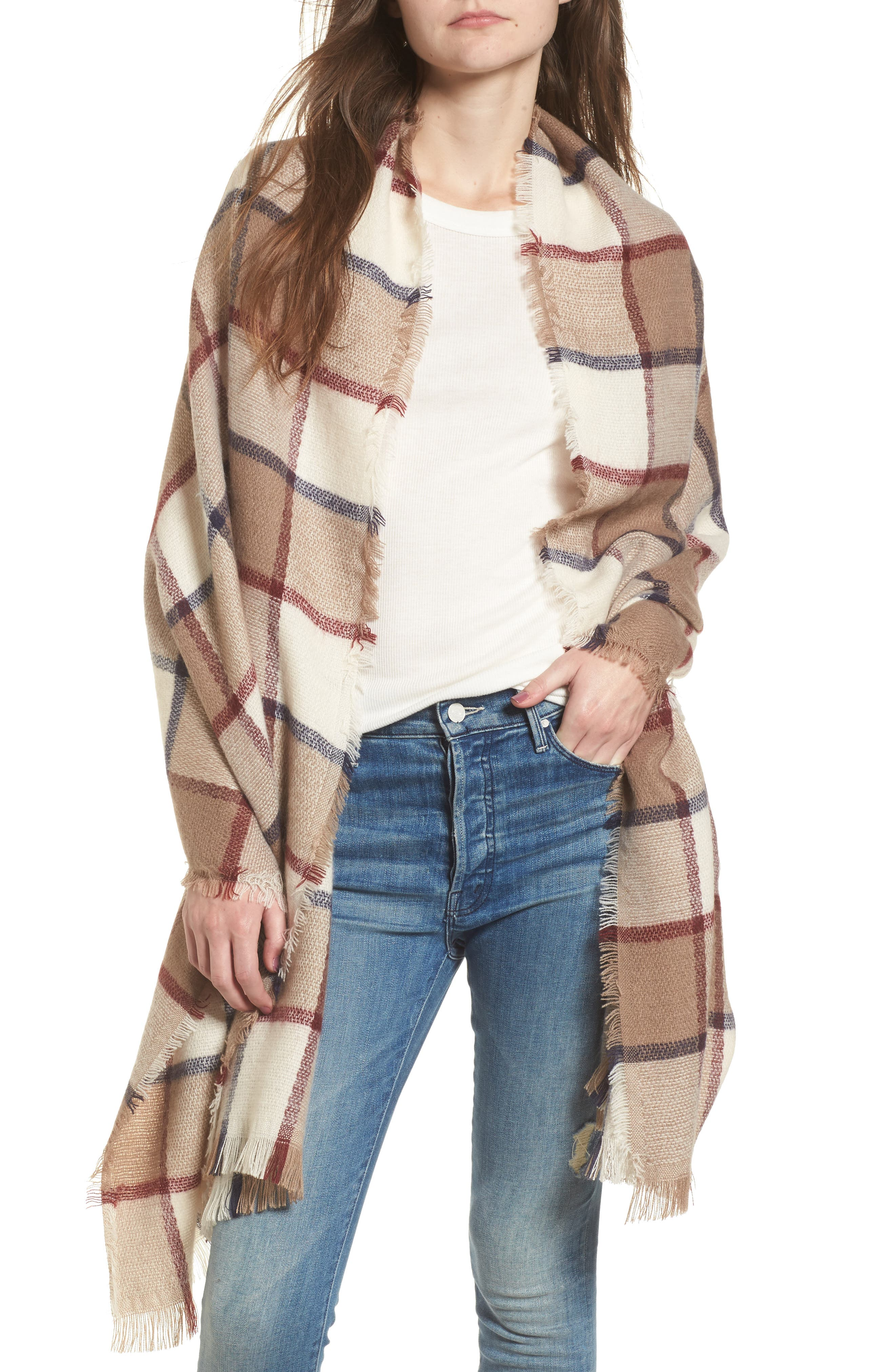 Windowpane Check Blanket Scarf,                         Main,                         color, Ivory Combo