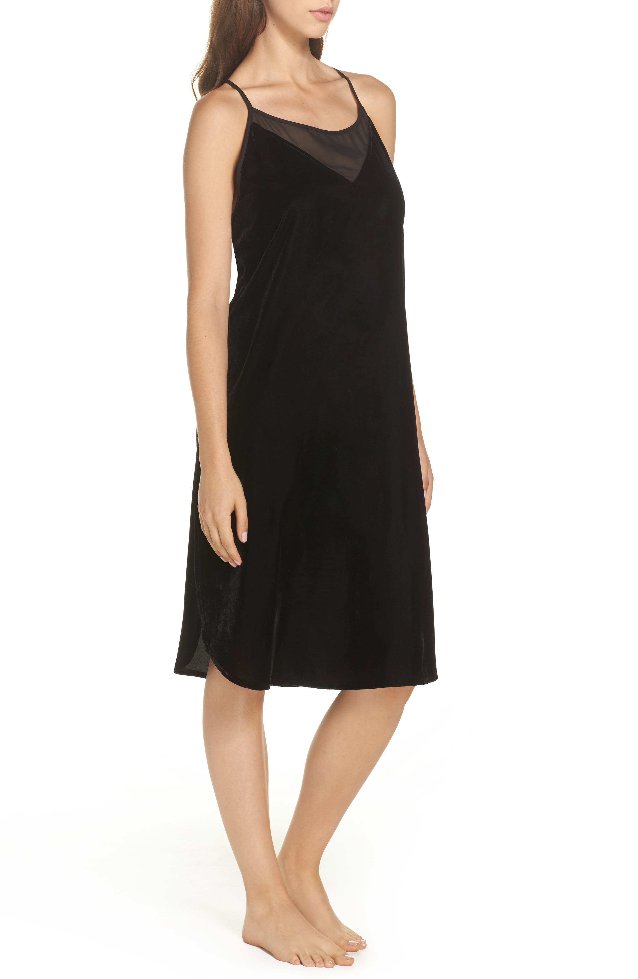 Velvet Chemise,                             Alternate thumbnail 3, color,                             Black