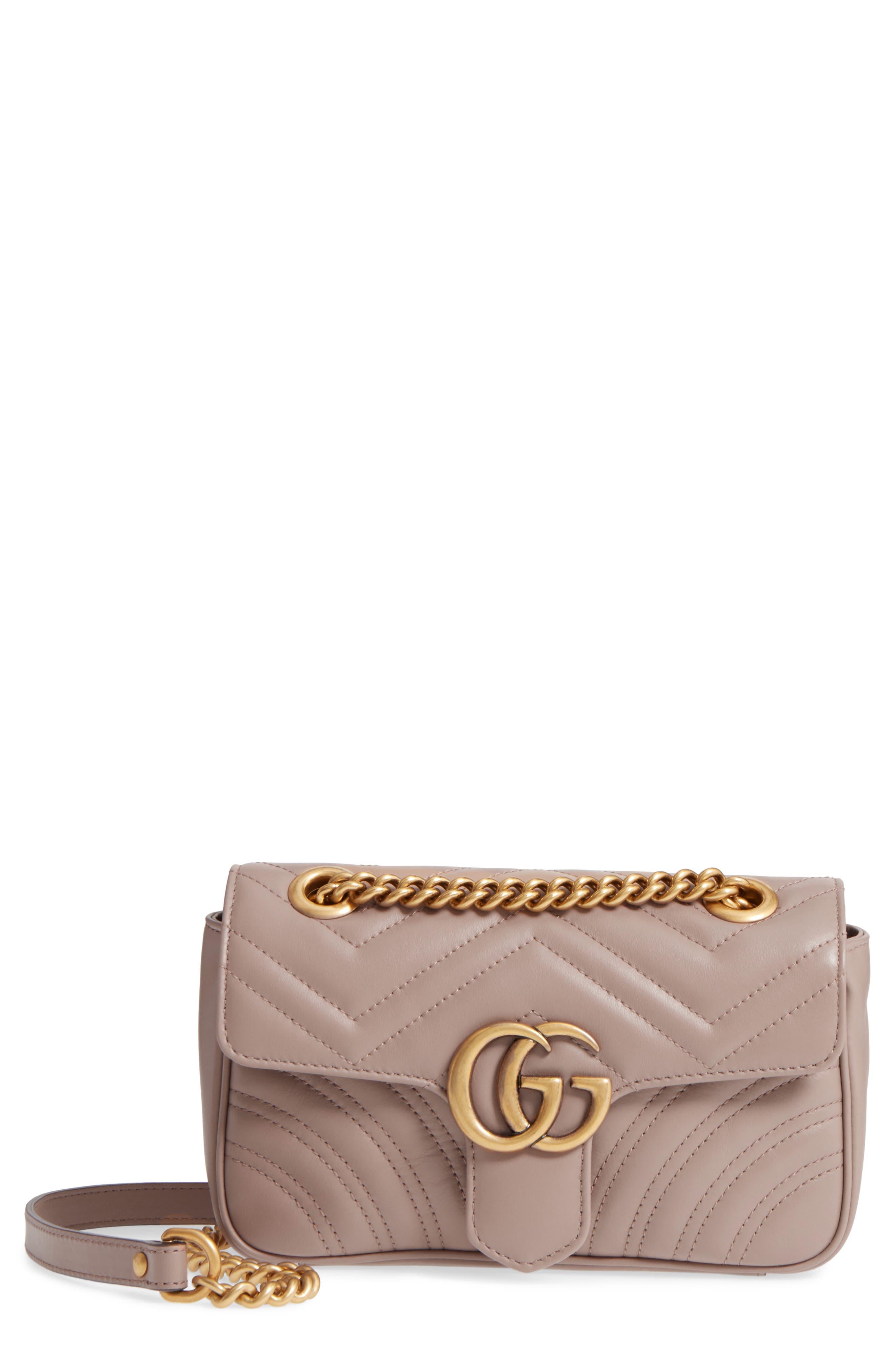 Mini GG Marmont 2.0 Matelassé Leather Shoulder Bag,                             Main thumbnail 1, color,                             Porcelain Rose
