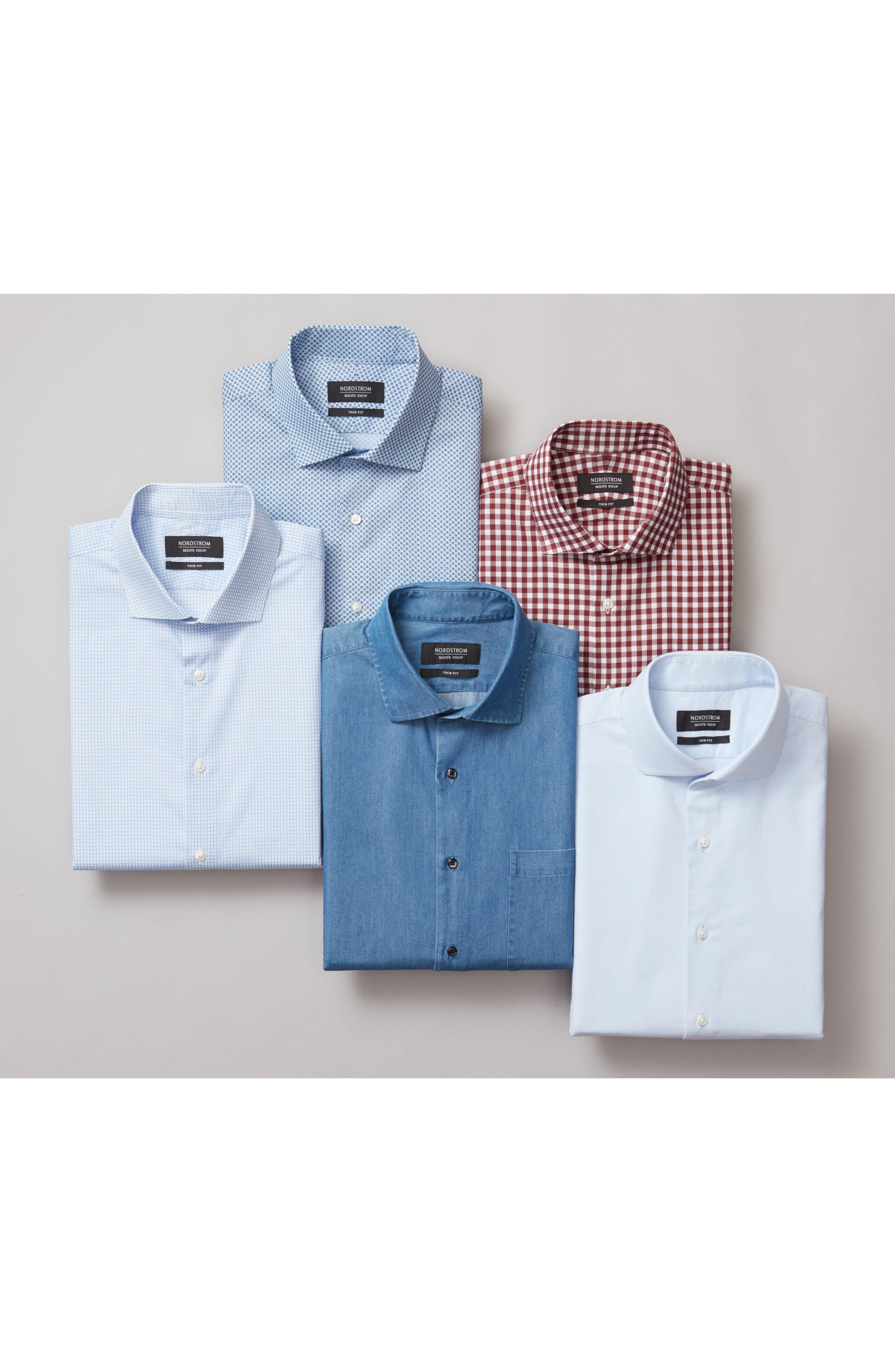Trim Fit Patterned Dress Shirt,                             Alternate thumbnail 3, color,