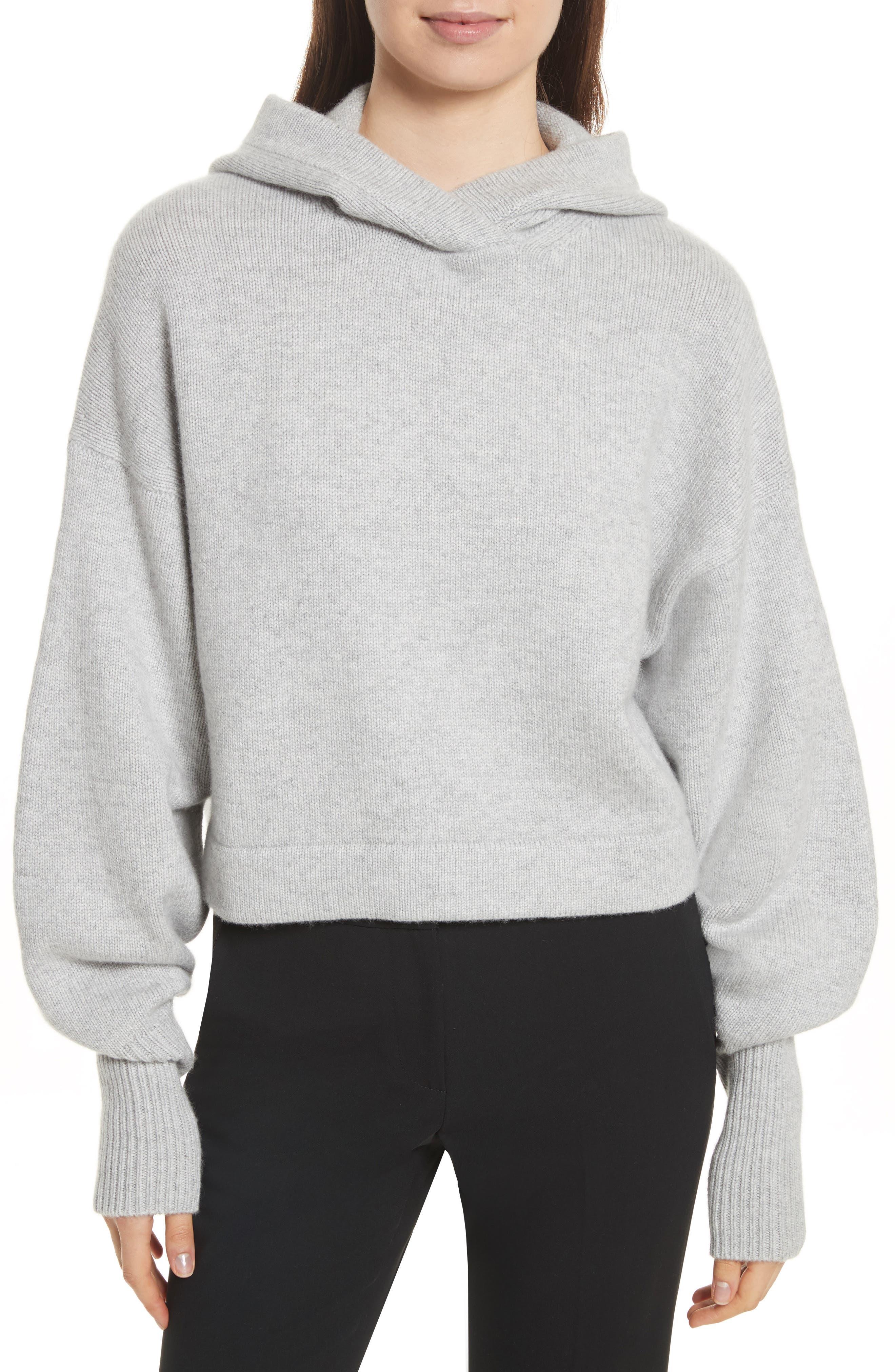 Blouson Sleeve Cashmere Hoodie,                         Main,                         color, Heather Grey