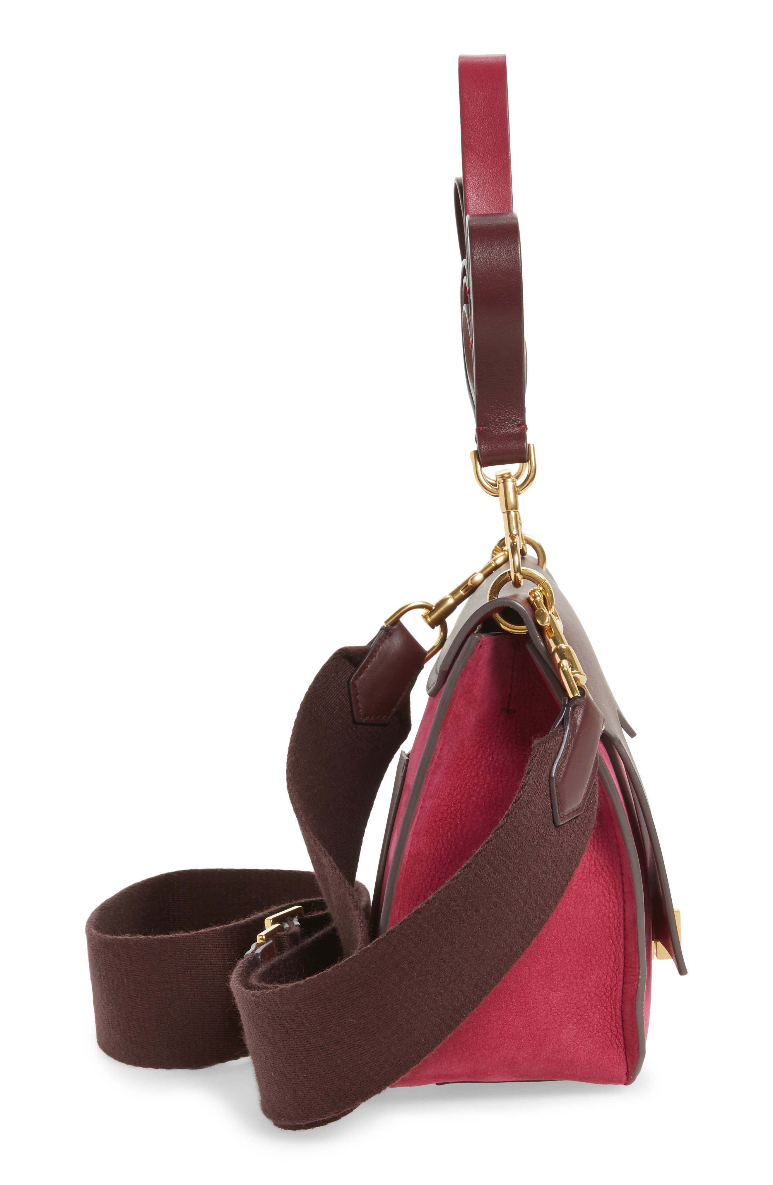 Extra Small Bathhurst Heart Leather Shoulder Bag,                             Alternate thumbnail 5, color,                             Raspberry