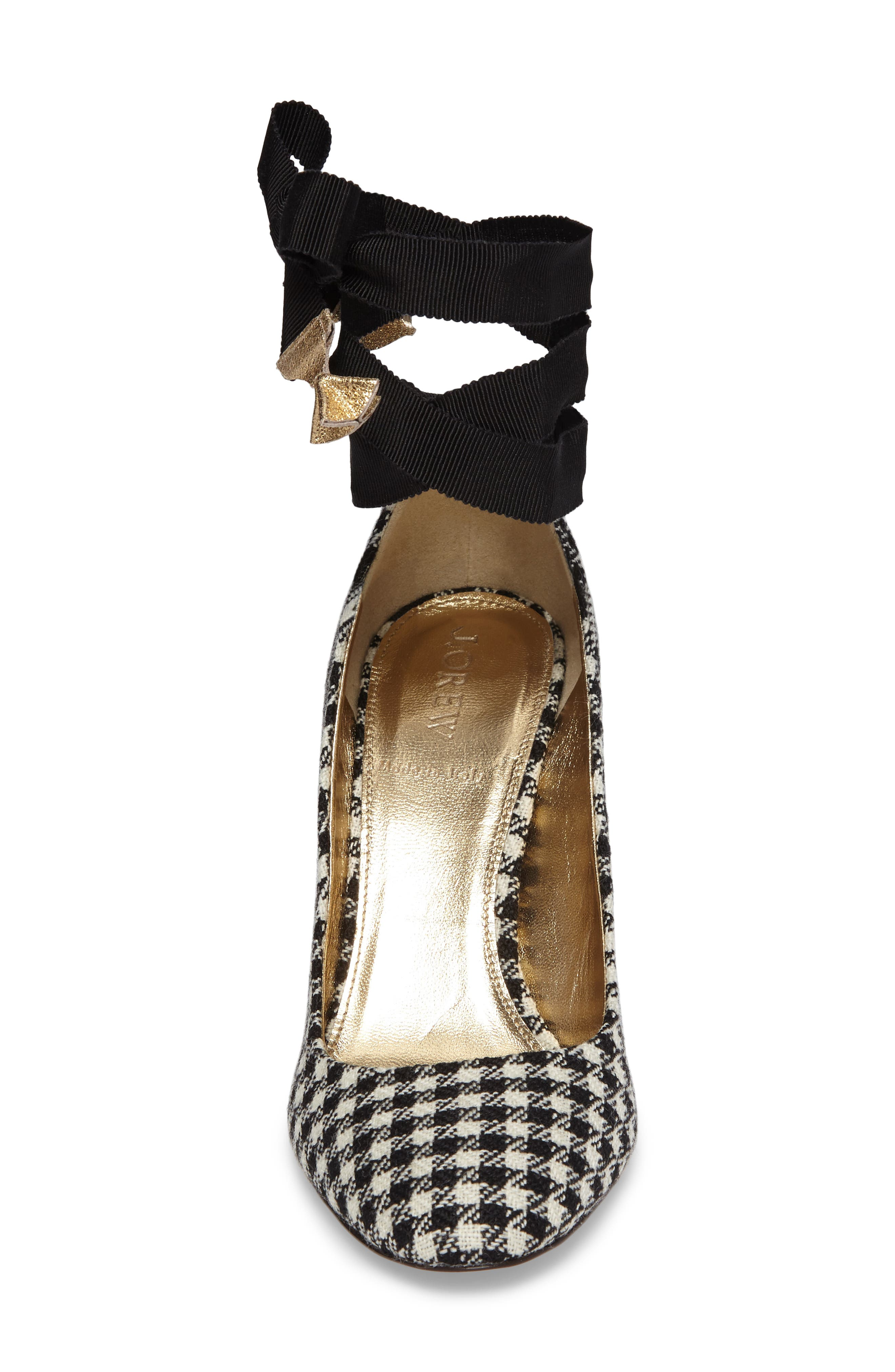 J. Crew Bell Ankle Tie Pump,                             Alternate thumbnail 4, color,                             Black/ Ivory Fabric