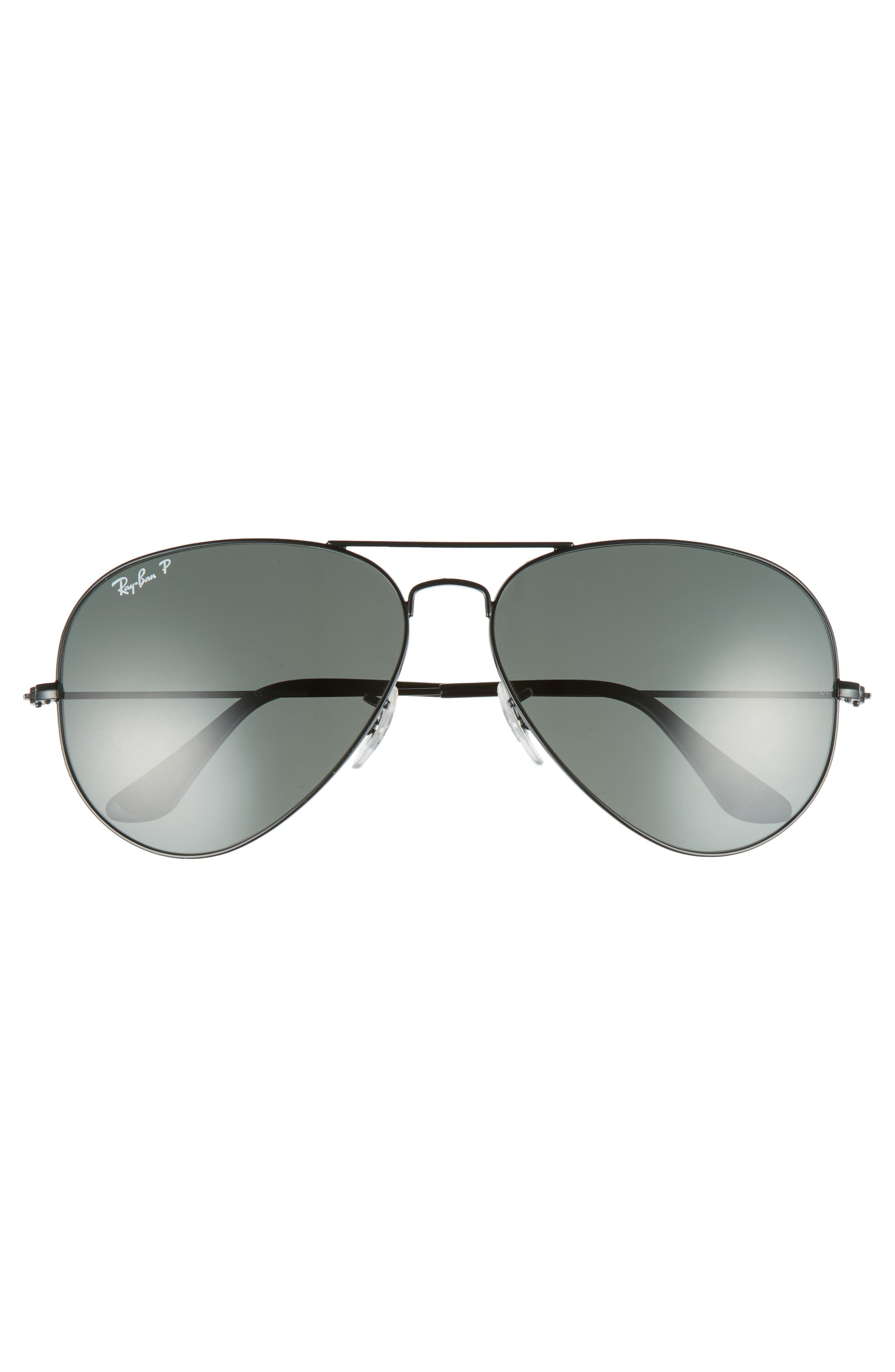 Original 62mm Polarized Aviator Sunglasses,                             Alternate thumbnail 3, color,                             Black/ Polarized