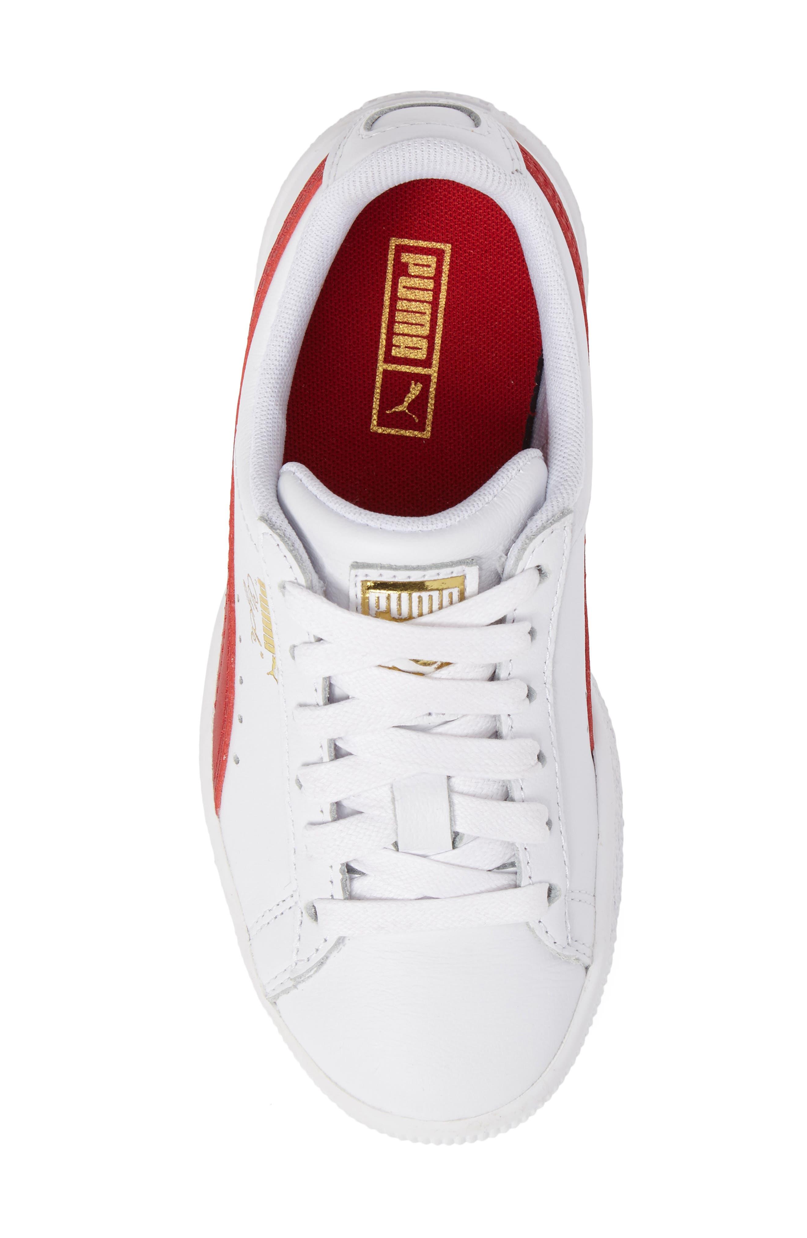 Clyde Core Foil Sneaker,                             Alternate thumbnail 5, color,                             White/ Cherry