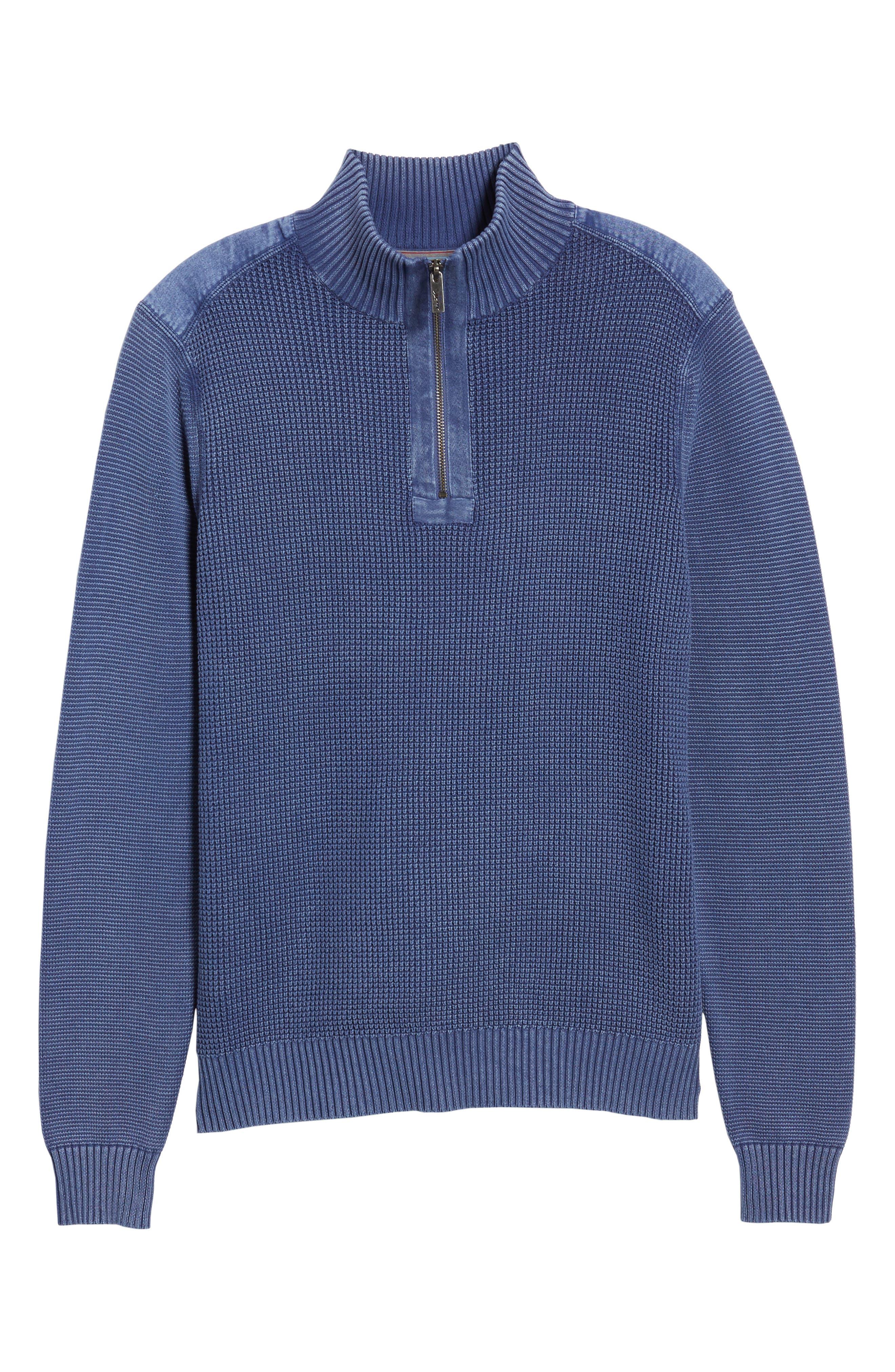 Coastal Shores Quarter Zip Sweater,                             Alternate thumbnail 7, color,                             Downpour