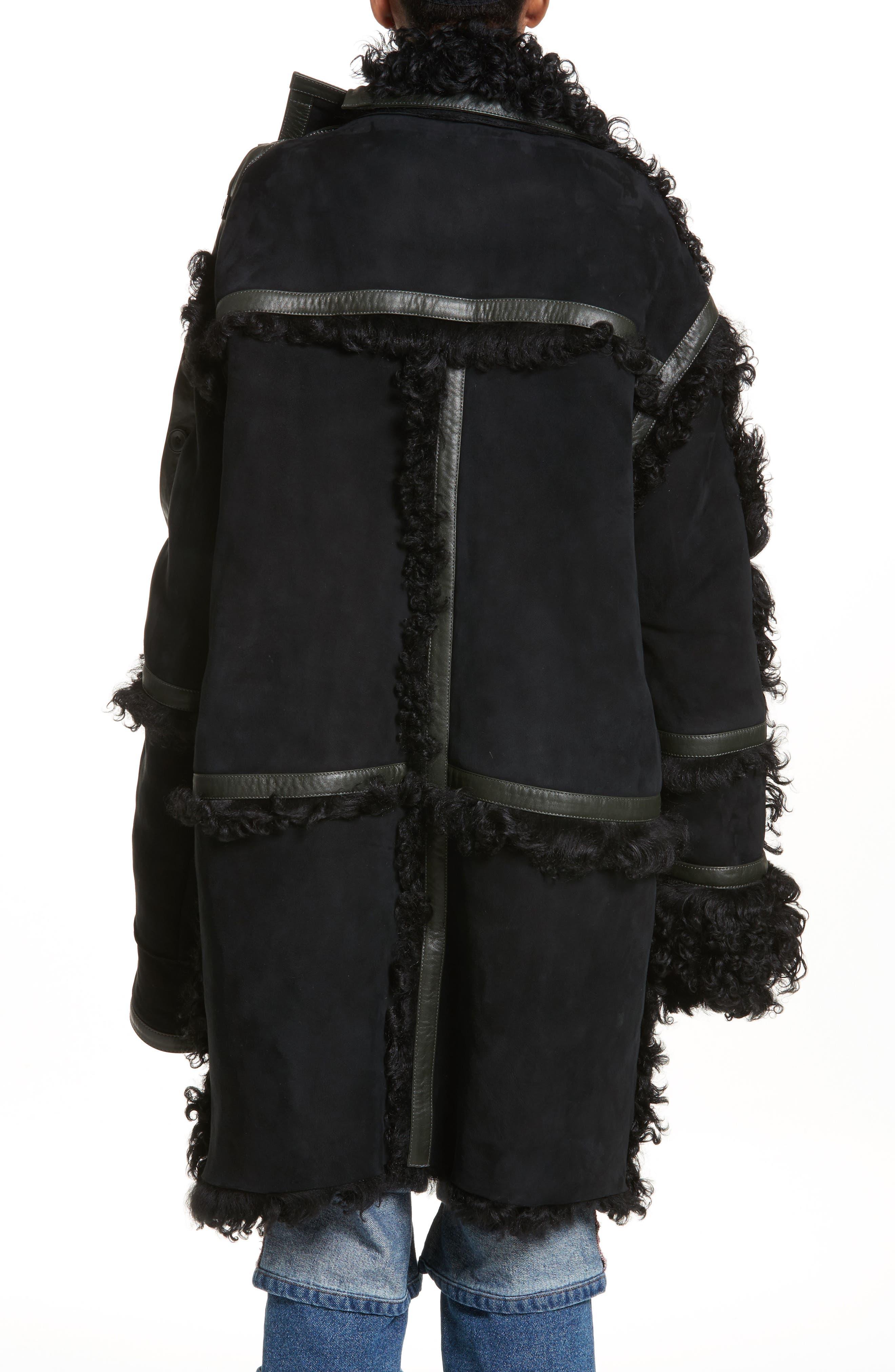 Genuine Shearling Coat,                             Alternate thumbnail 2, color,                             Noir