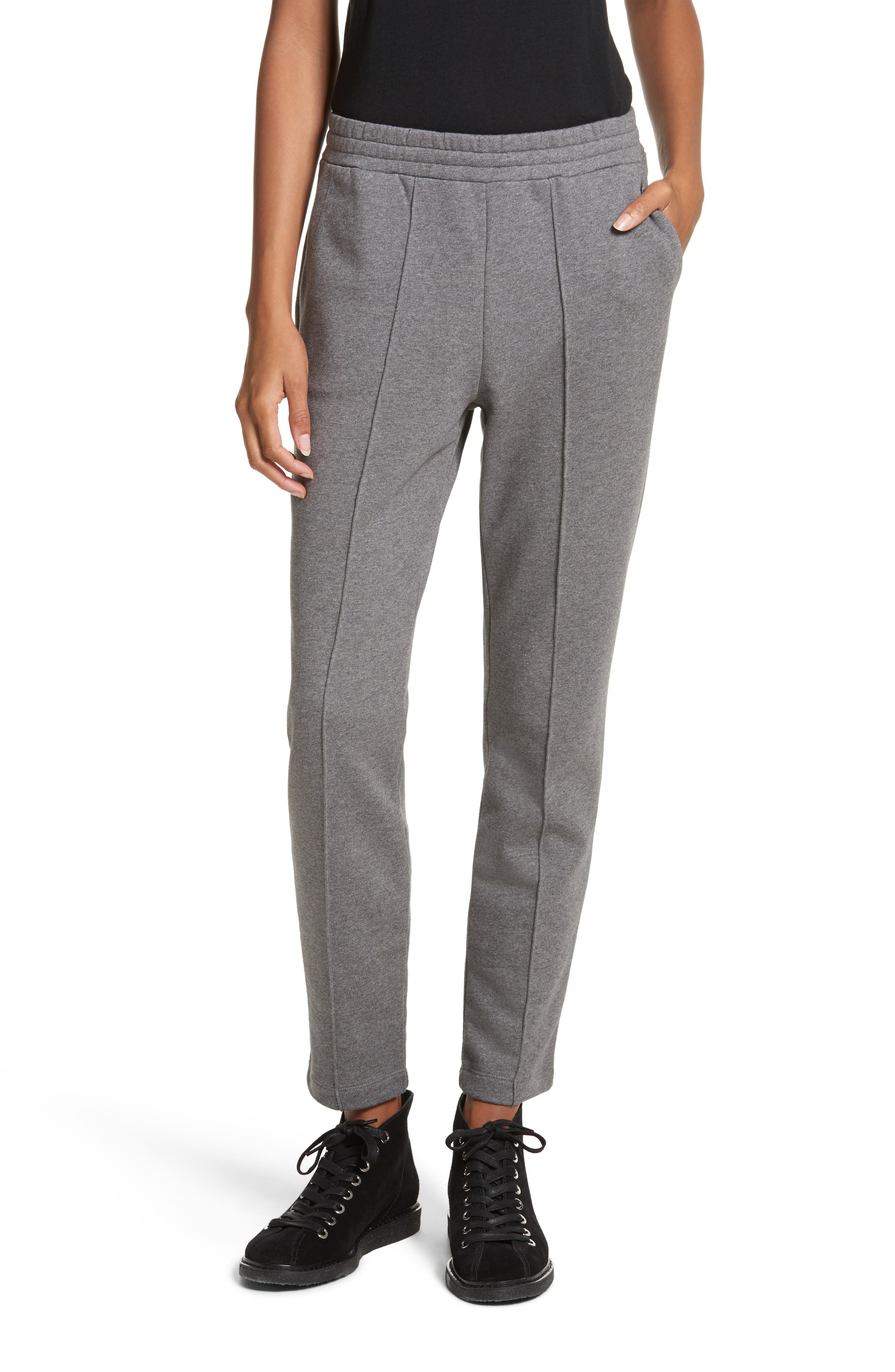 French Terry Leggings,                         Main,                         color, Heather Grey