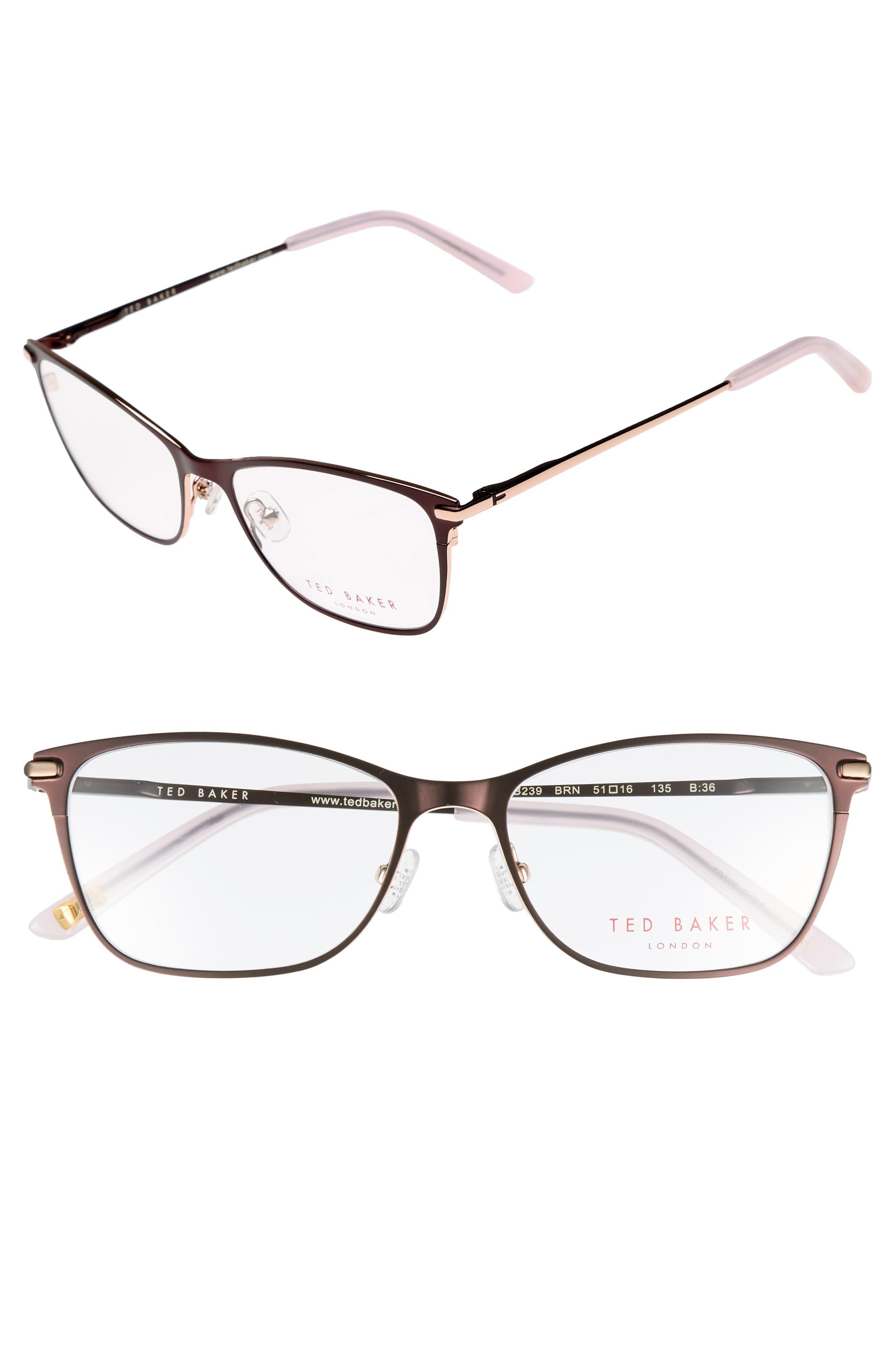 51mm Metal Cat Eye Optical Glasses,                             Main thumbnail 1, color,                             Brown