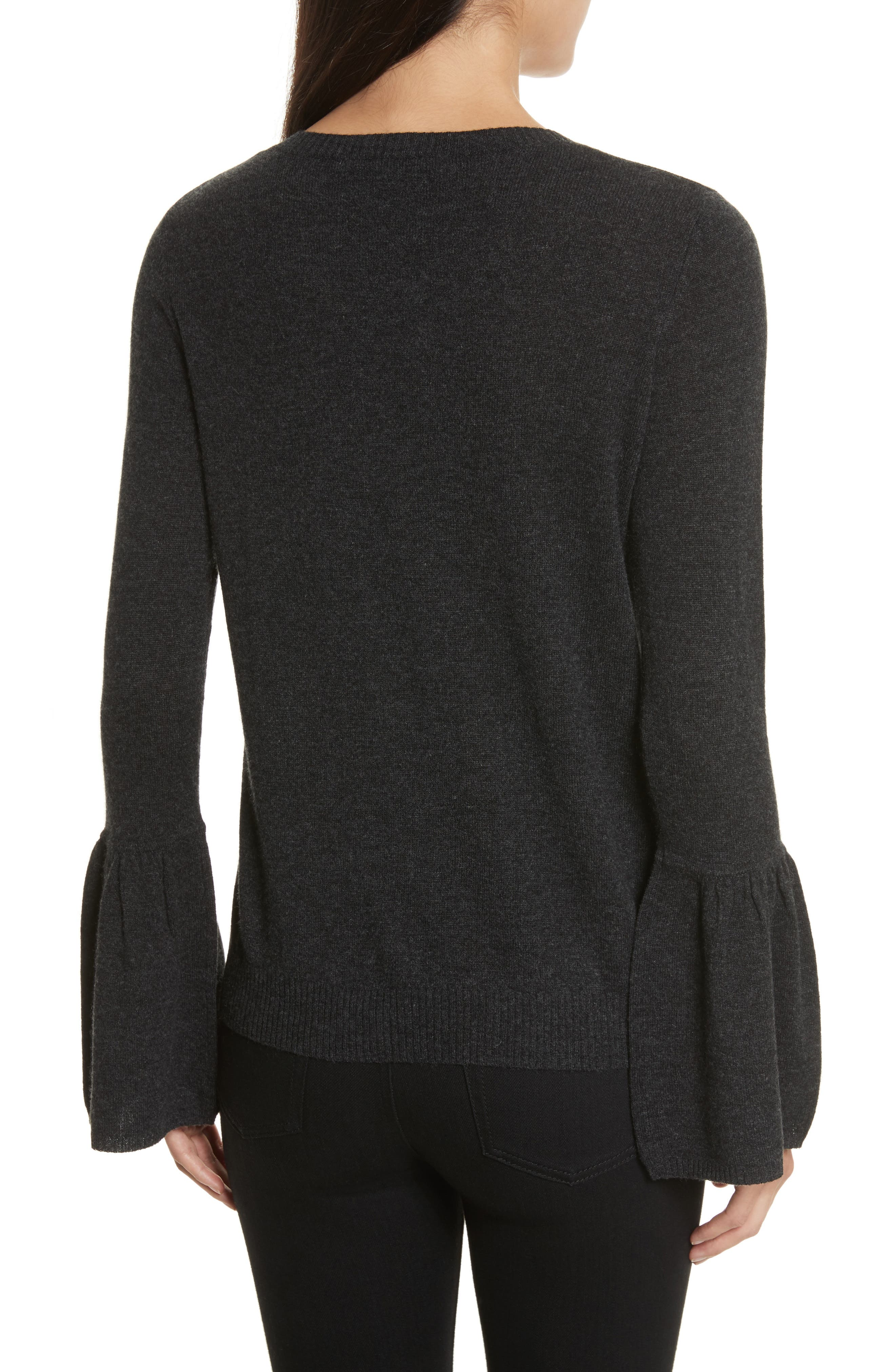 Cashmere Bell Sleeve Sweater,                             Alternate thumbnail 2, color,                             Lead
