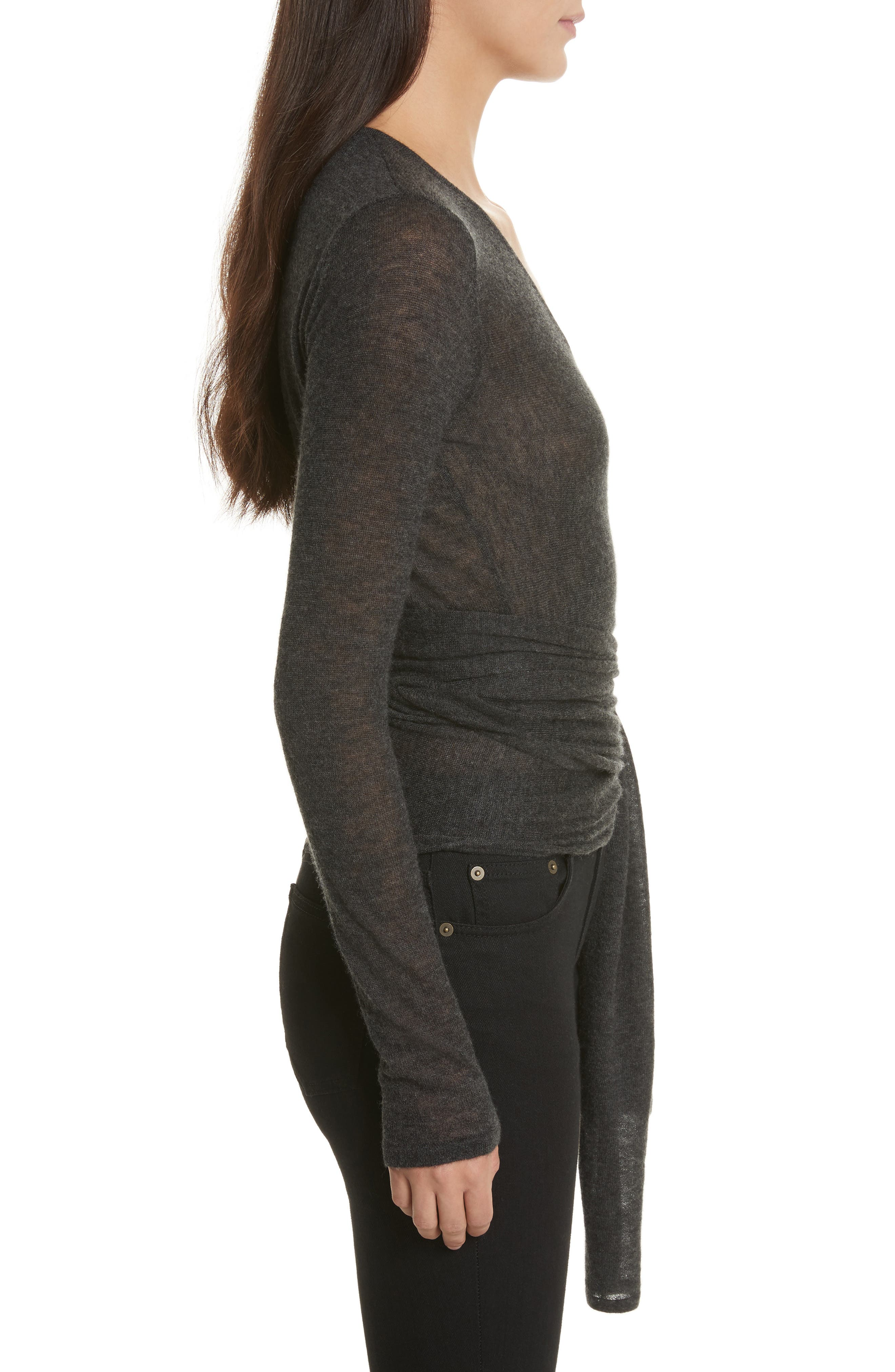 Cashmere Wrap Ballet Sweater,                             Alternate thumbnail 3, color,                             Charcoal
