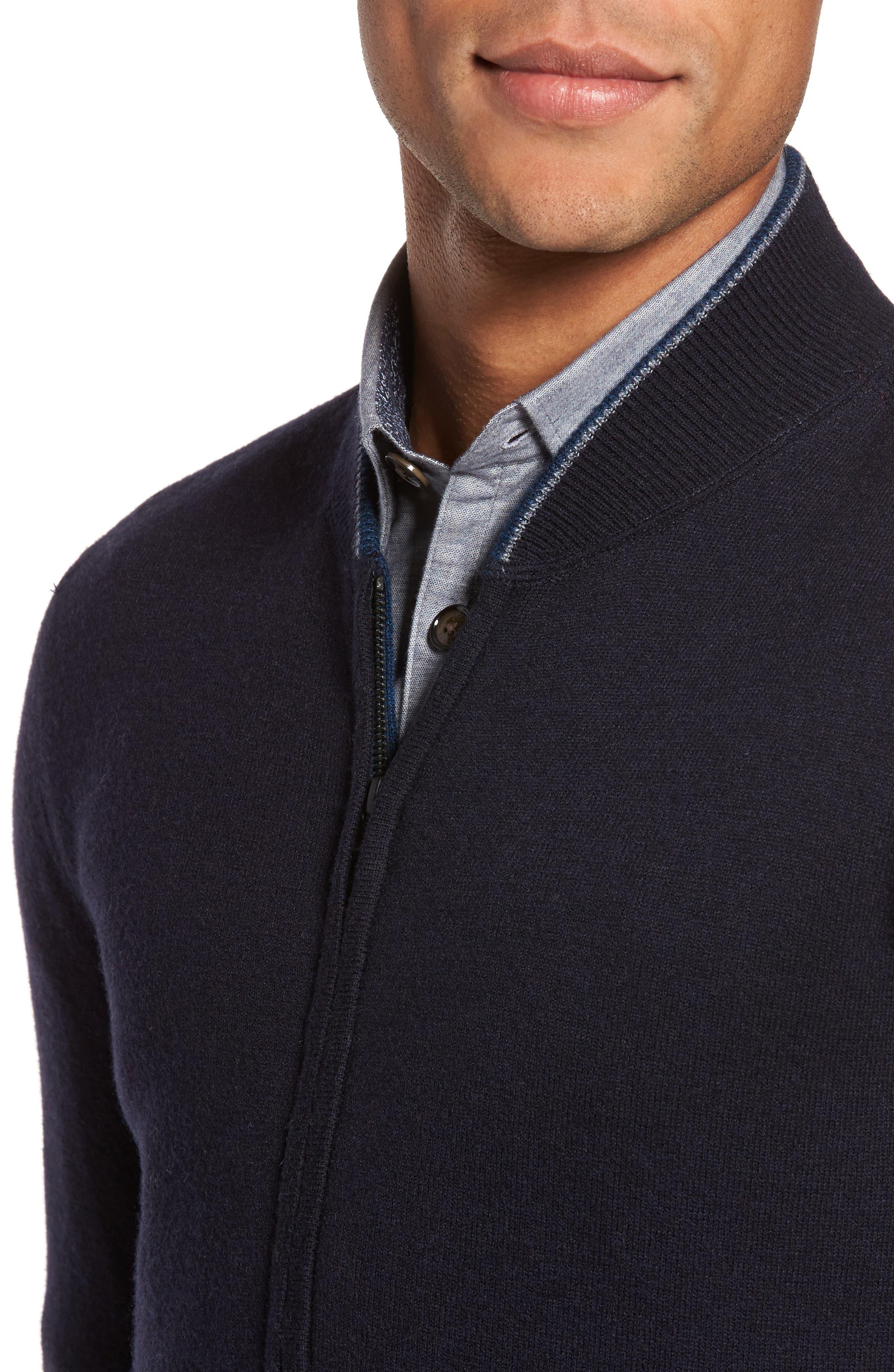Merino Wool Baseball Sweater,                             Alternate thumbnail 4, color,                             Navy