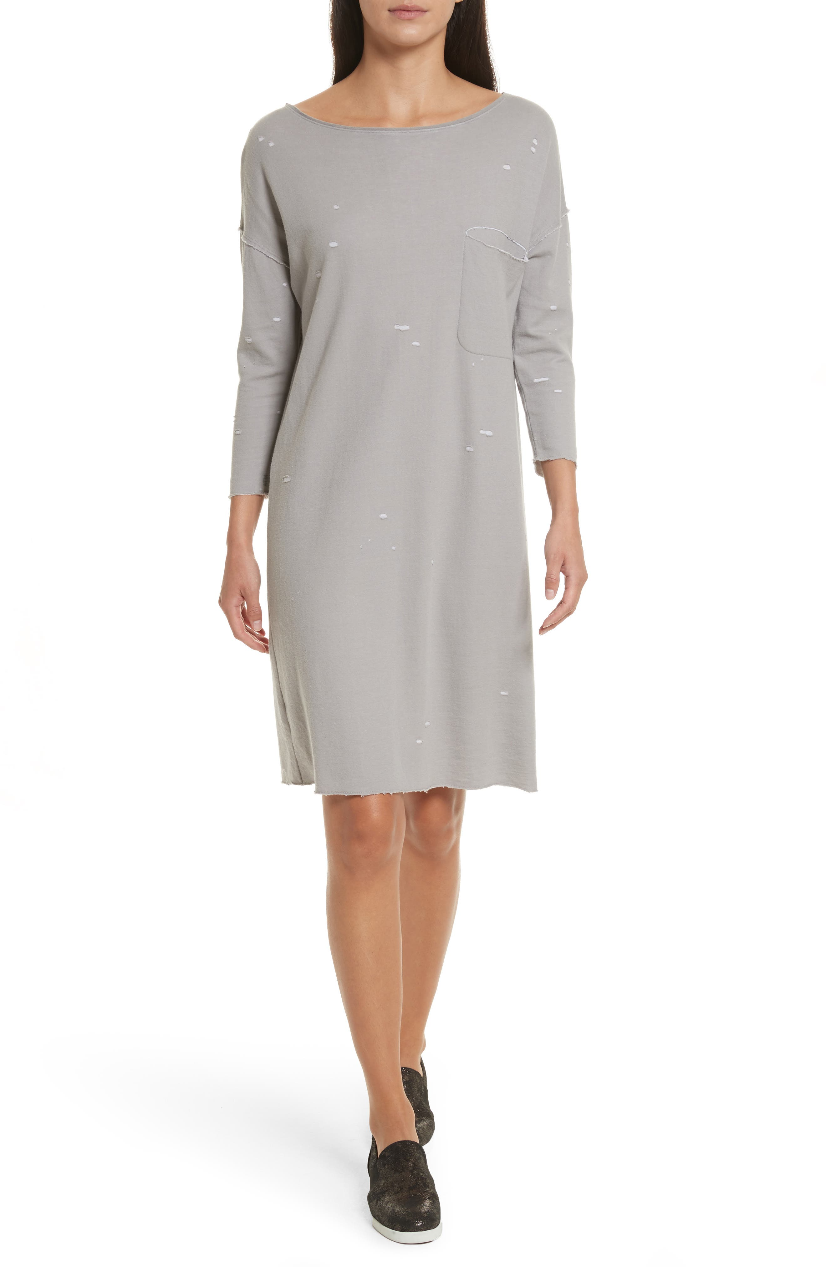 Destroyed Double-Faced Jersey Dress,                         Main,                         color, Grey