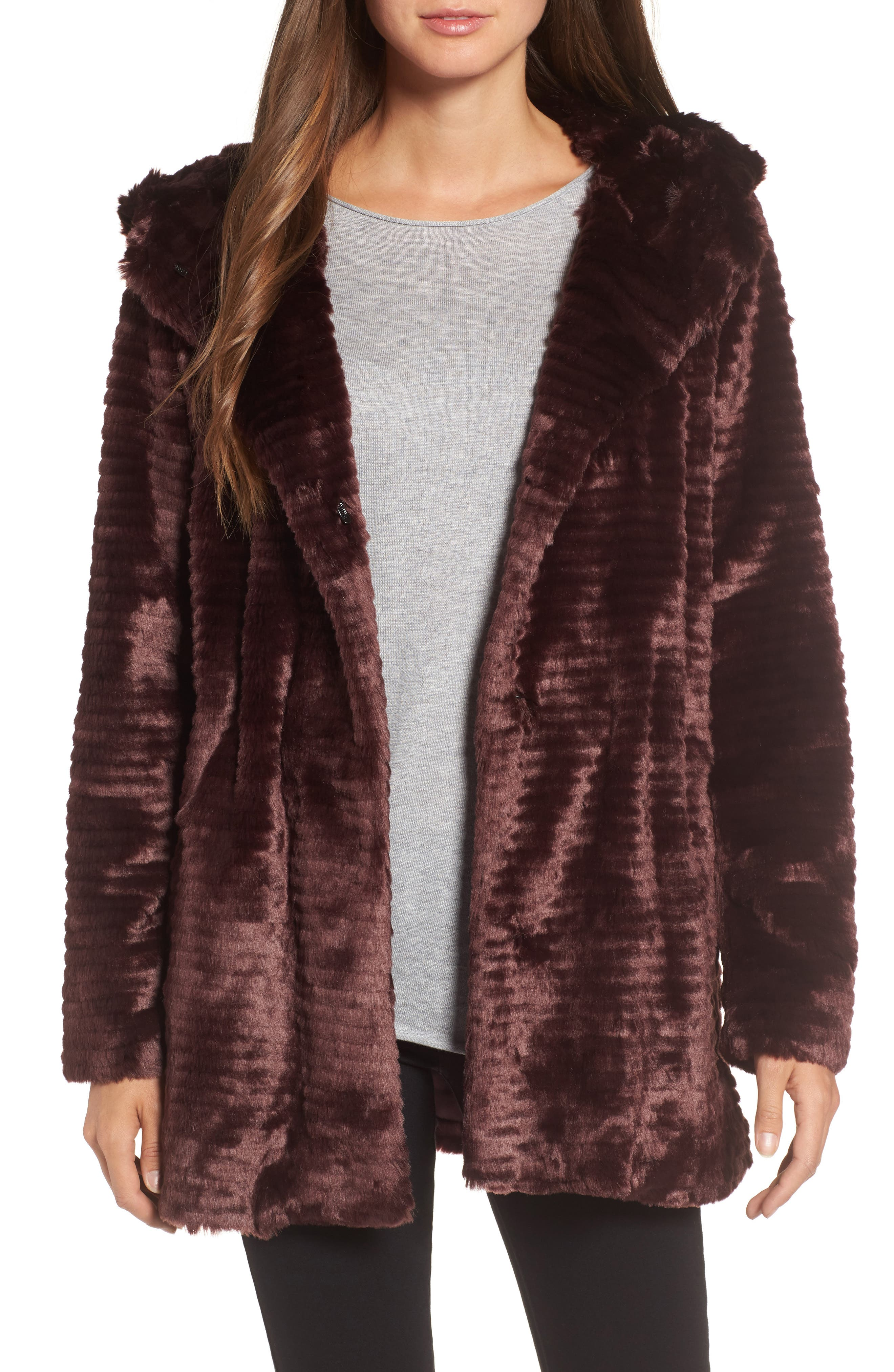 Main Image - Vince Camuto Hooded Faux Fur Coat