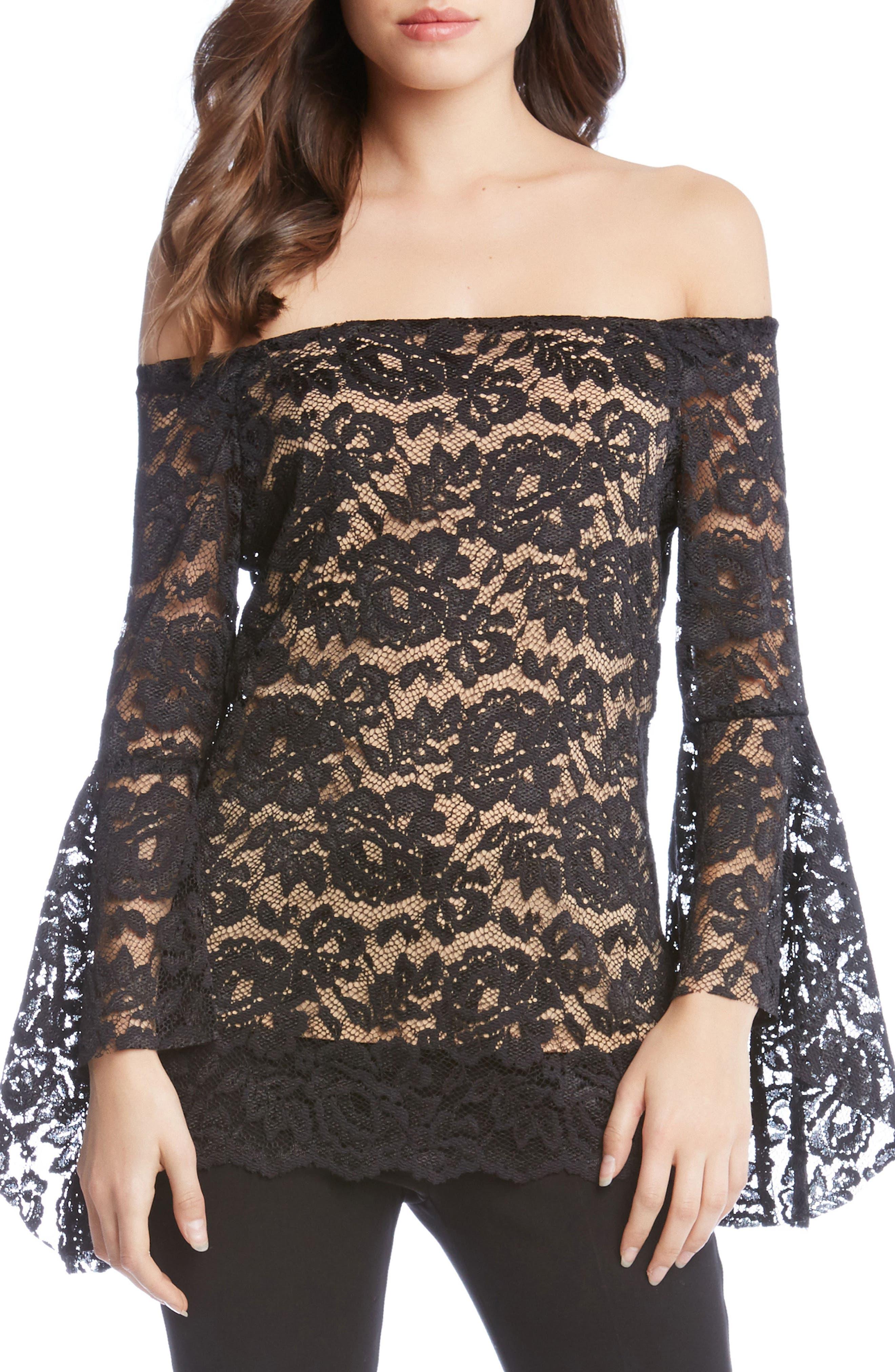 Off the Shoulder Bell Sleeve Blouse,                         Main,                         color, Black