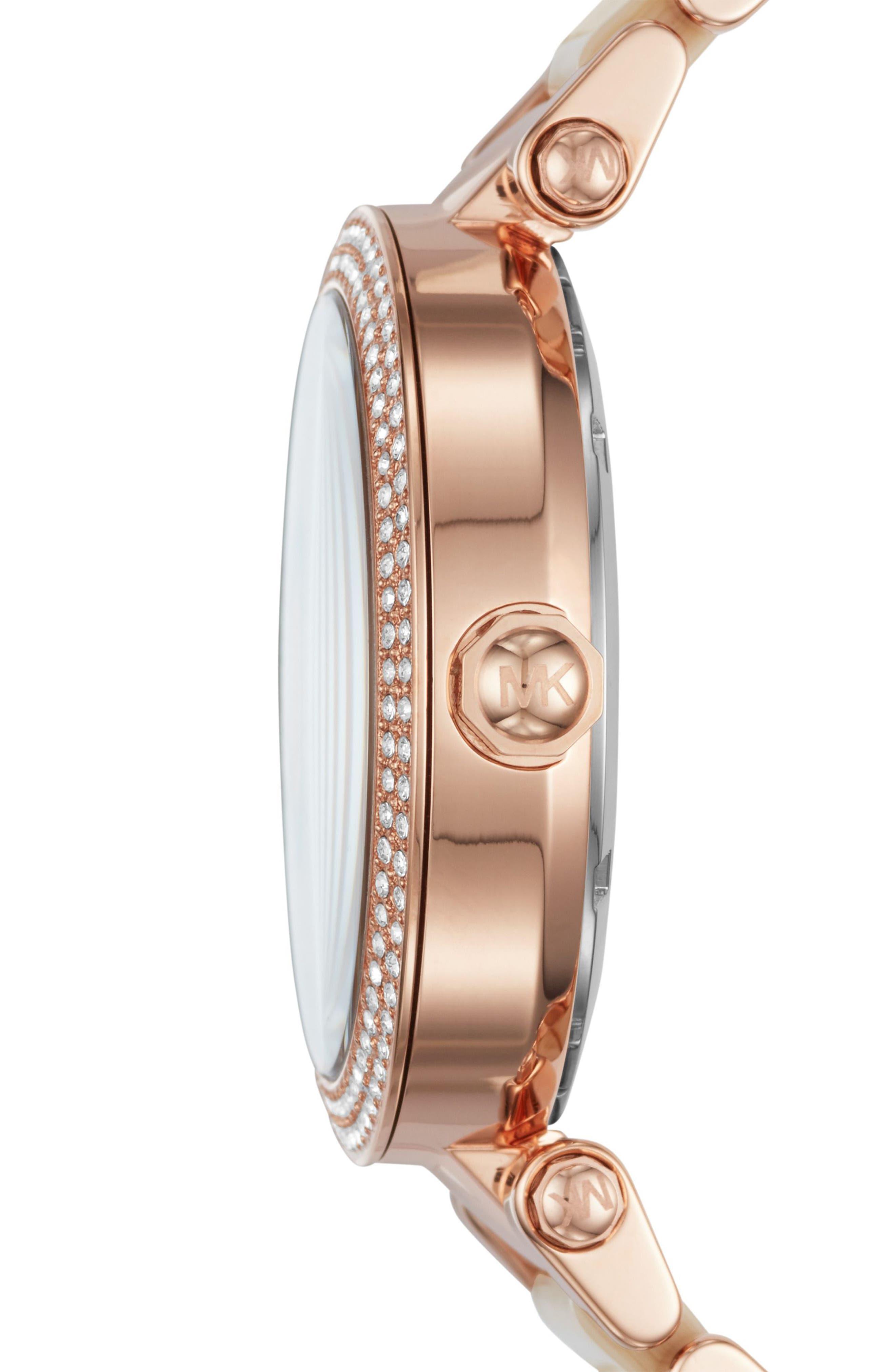 Alternate Image 2  - Michael Kors Parker Logo Acetate Bracelet Watch, 39mm