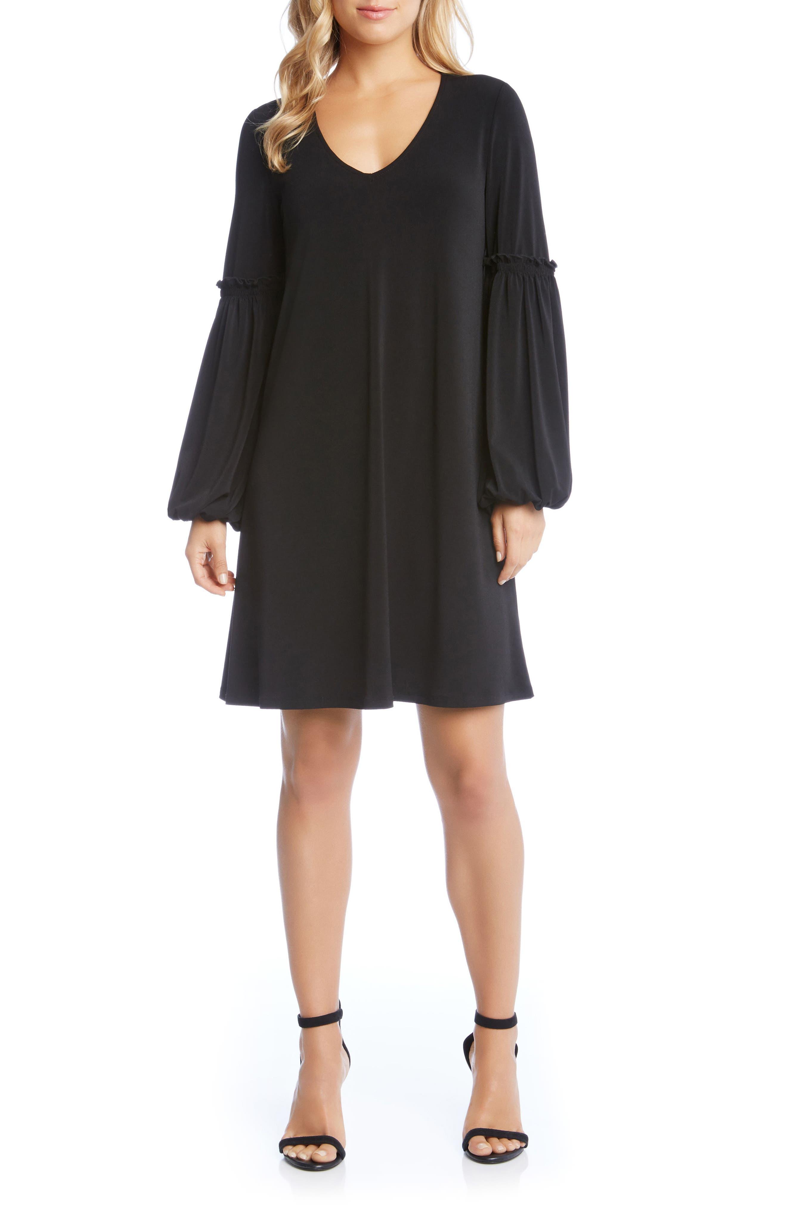 Harper Blouson Sleeve Shift Dress,                             Main thumbnail 1, color,                             Black