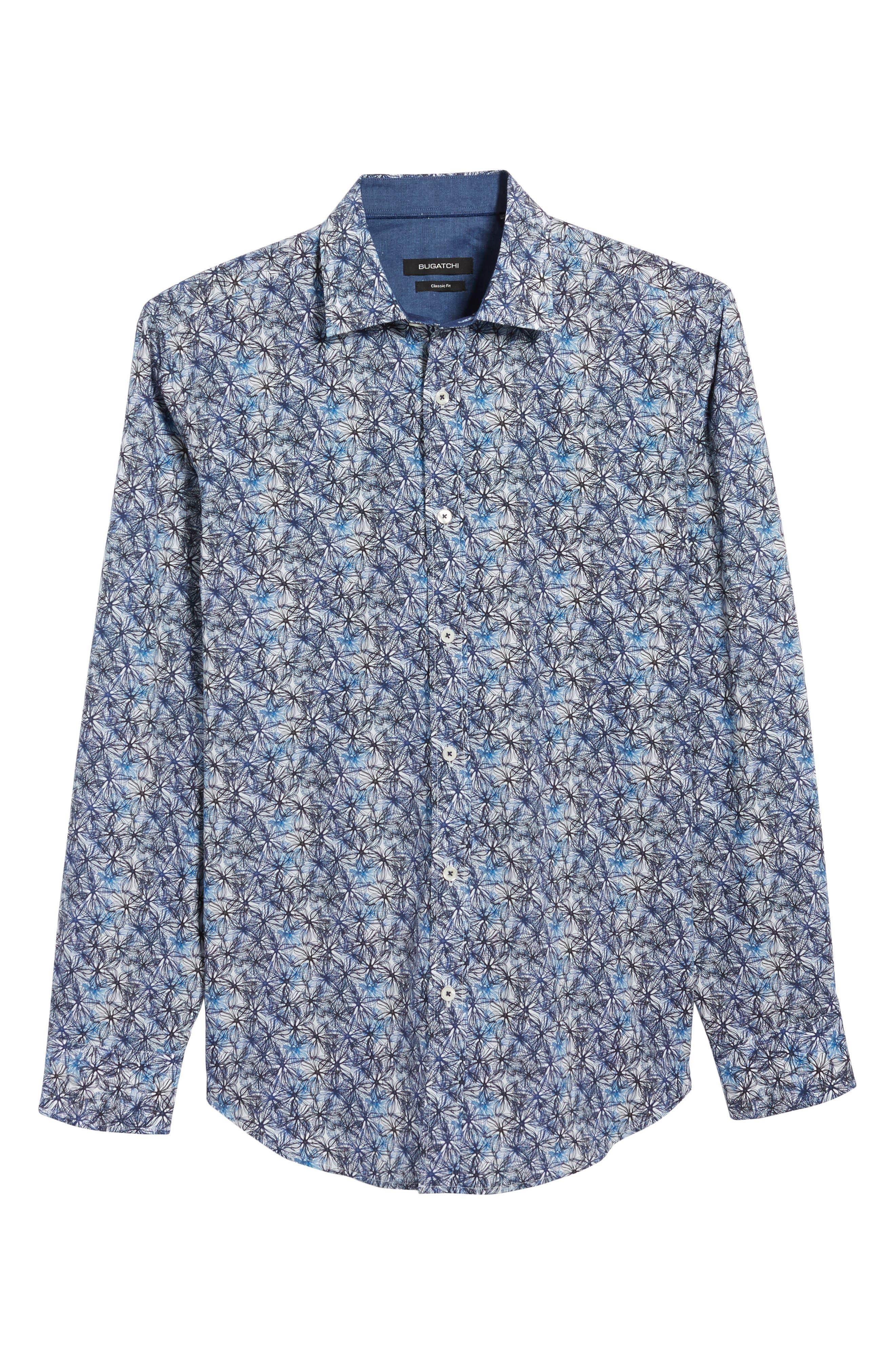 Alternate Image 6  - Bugatchi Trim Fit Print Sport Shirt