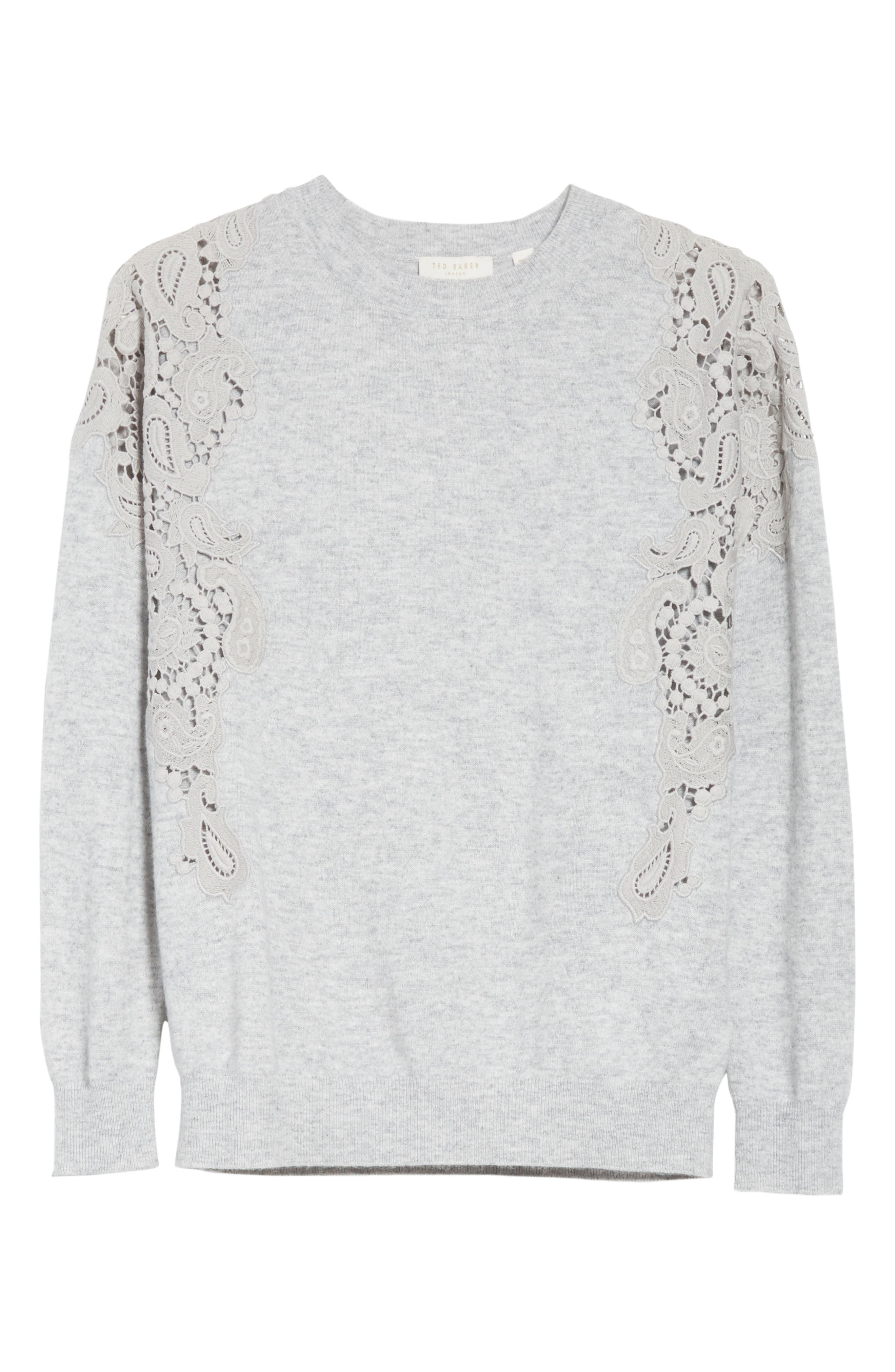 Tae Lace Shoulder Sweater,                             Alternate thumbnail 6, color,                             Mid Grey