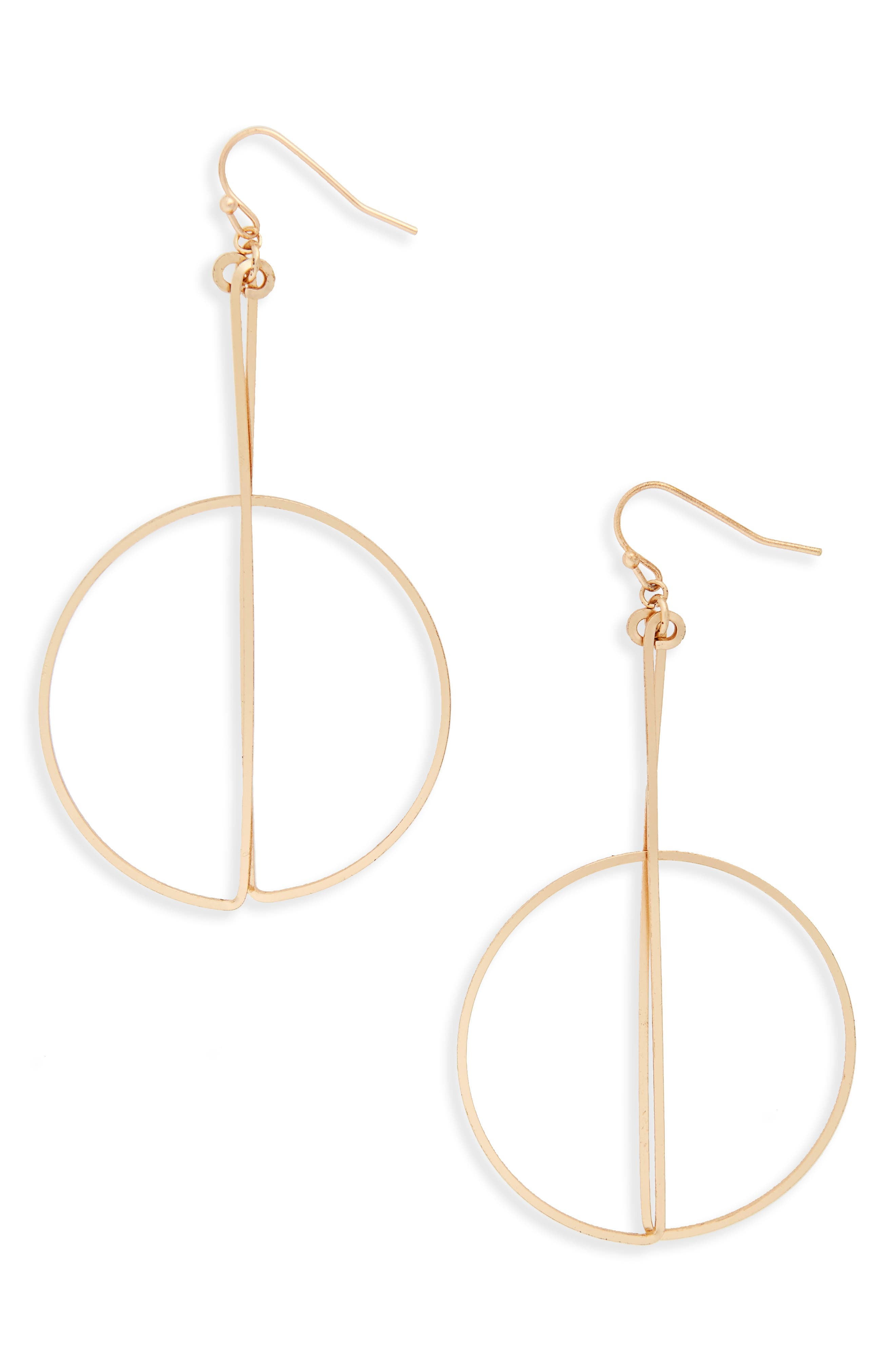 Circle and Bar Earrings,                         Main,                         color, Gold