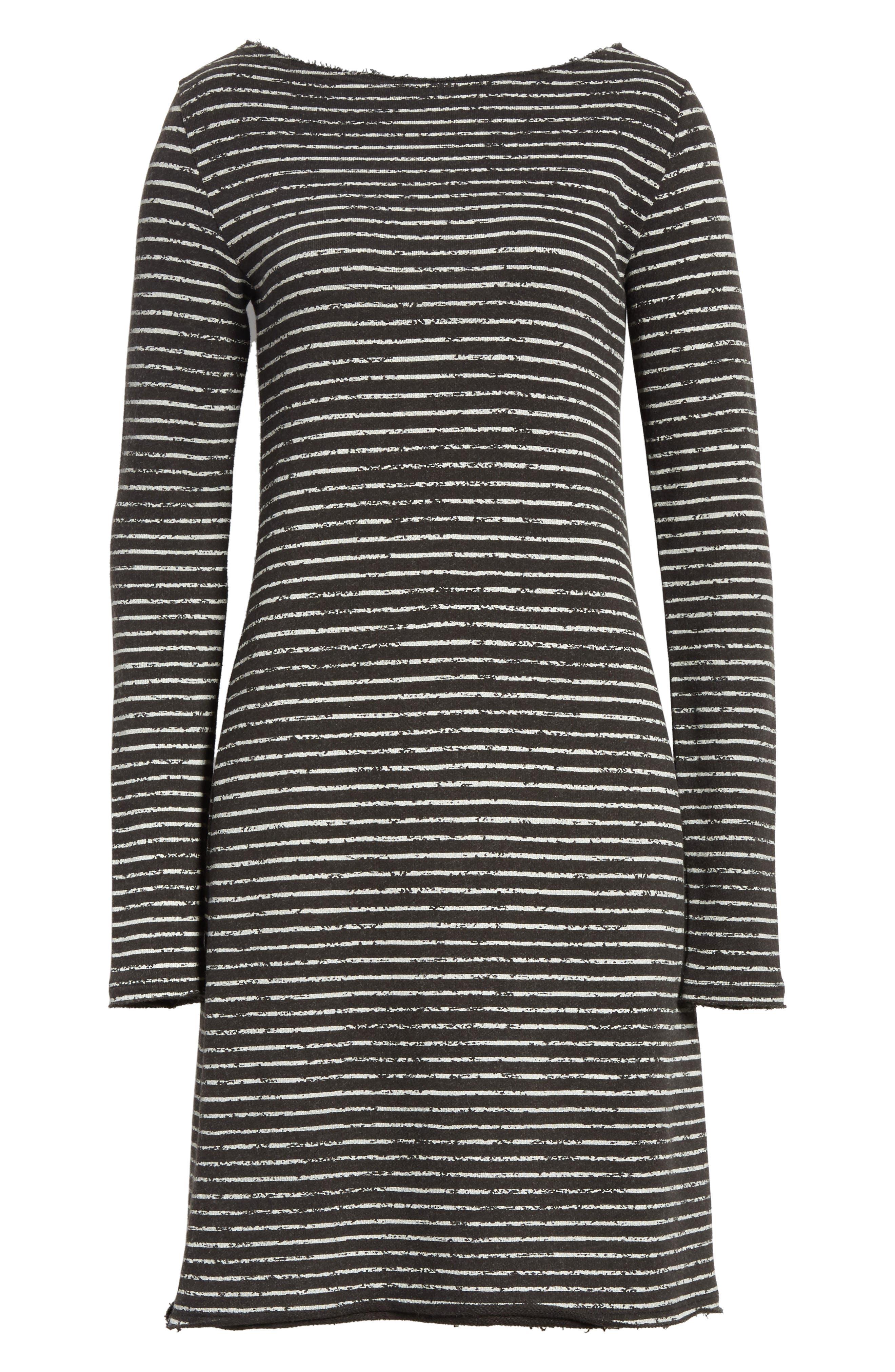 Broken Stripe French Terry Dress,                             Alternate thumbnail 6, color,                             Charcoal Combo Stripe
