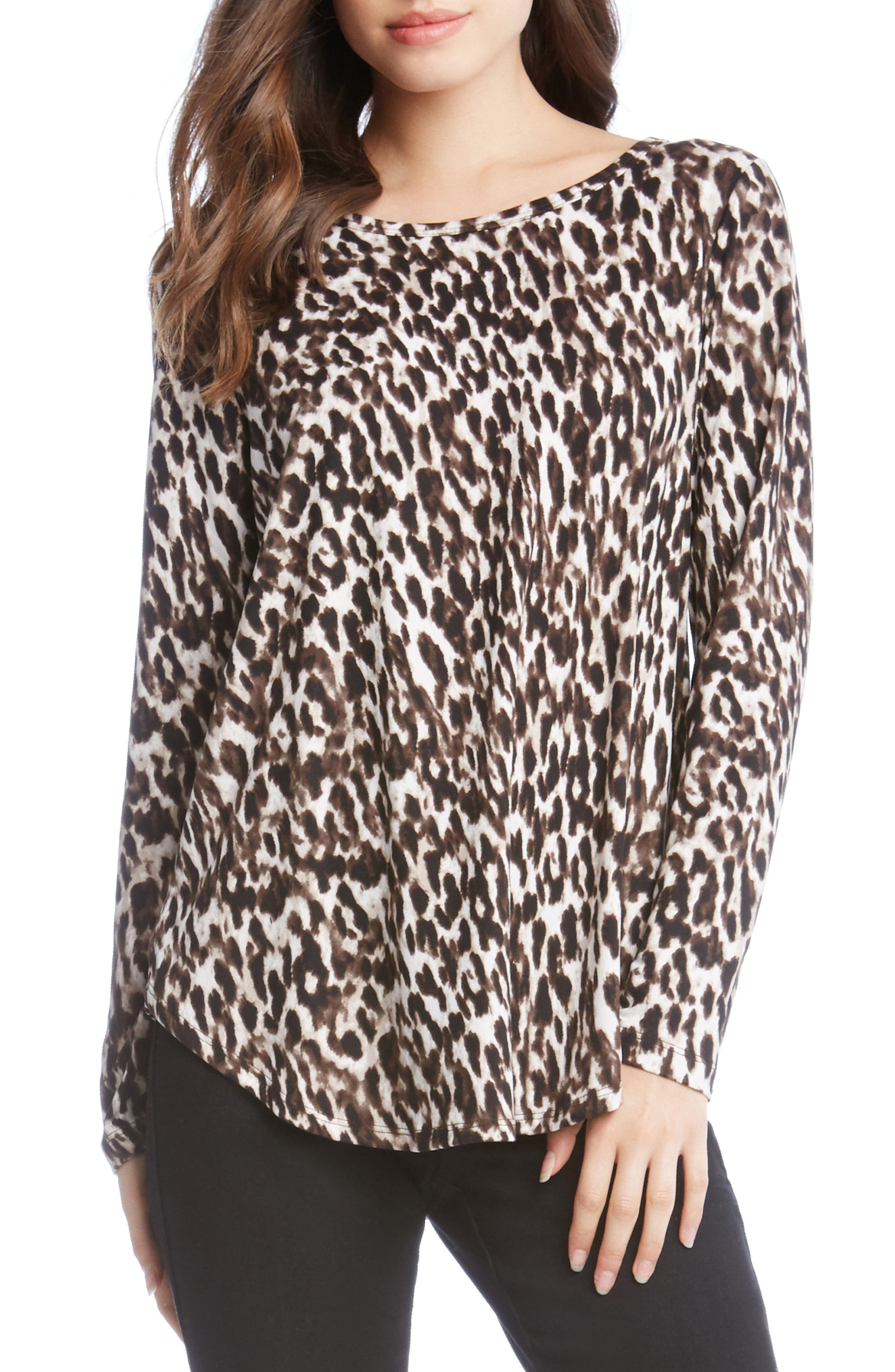 Brushed Knit Tee,                         Main,                         color, Leopard
