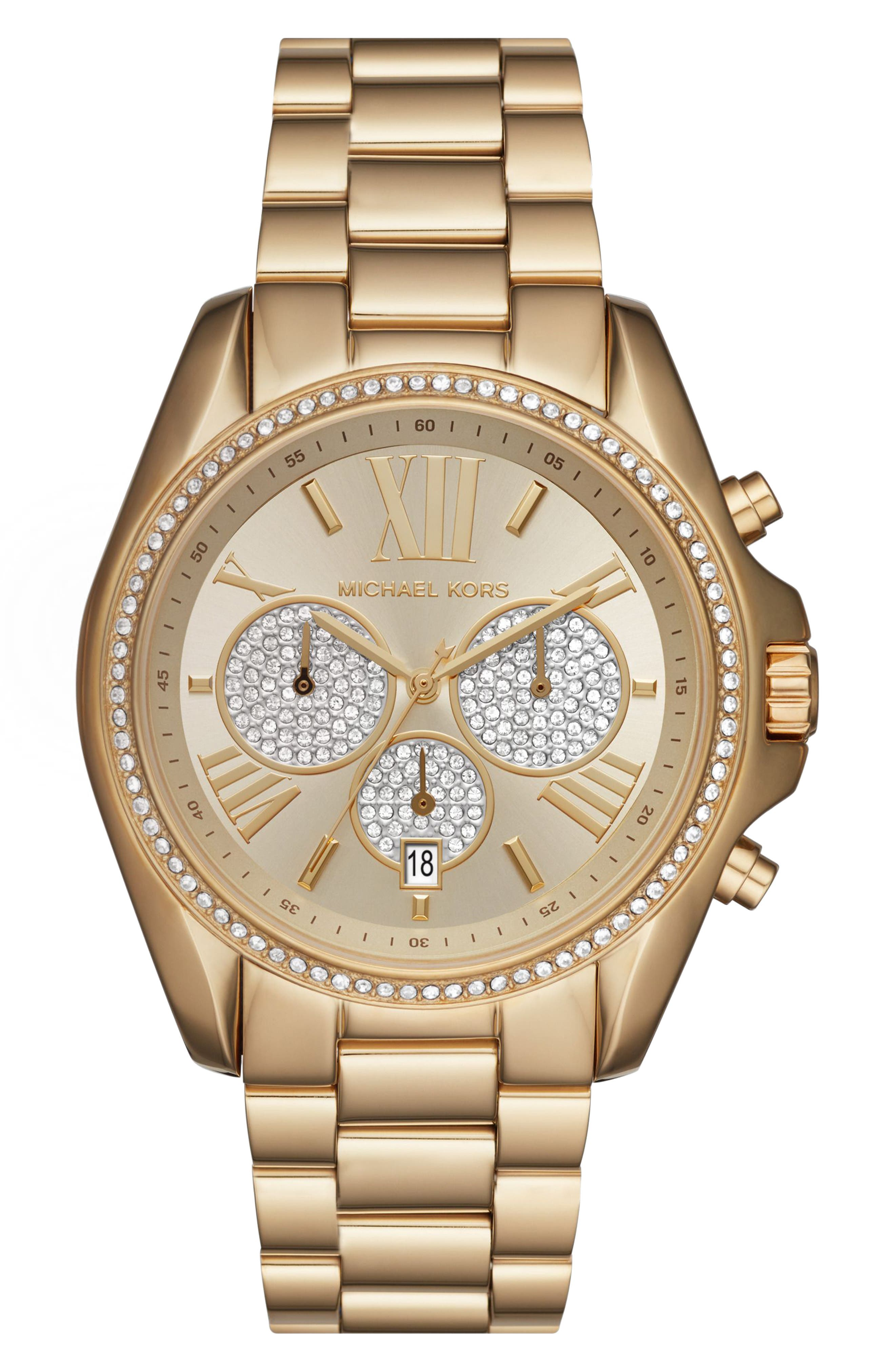 Michael Kors Bradshaw Crystal Pave Chronograph Bracelet Watch 43mm Gold