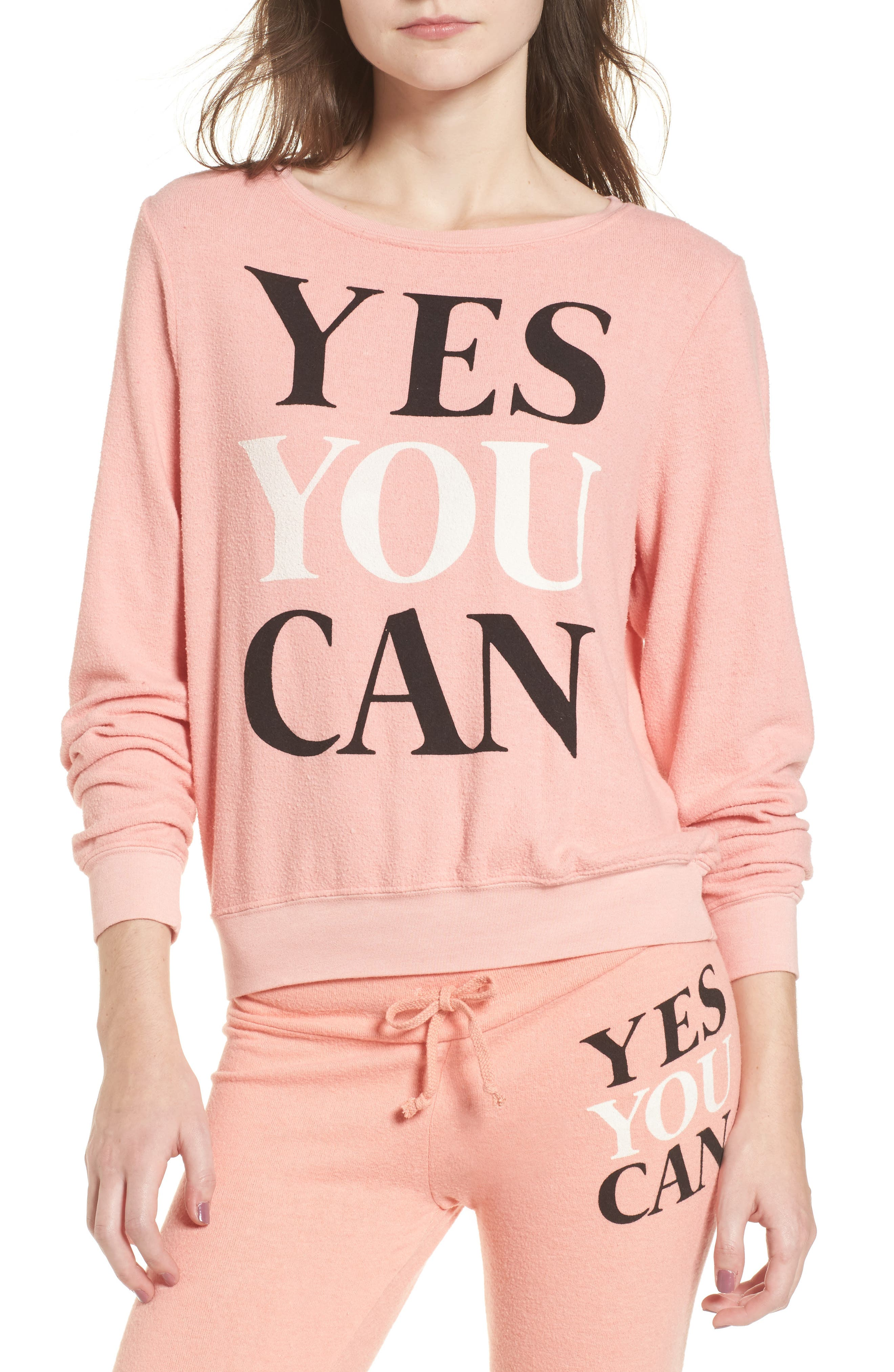 Yes You Can Sweatshirt,                         Main,                         color, Peony