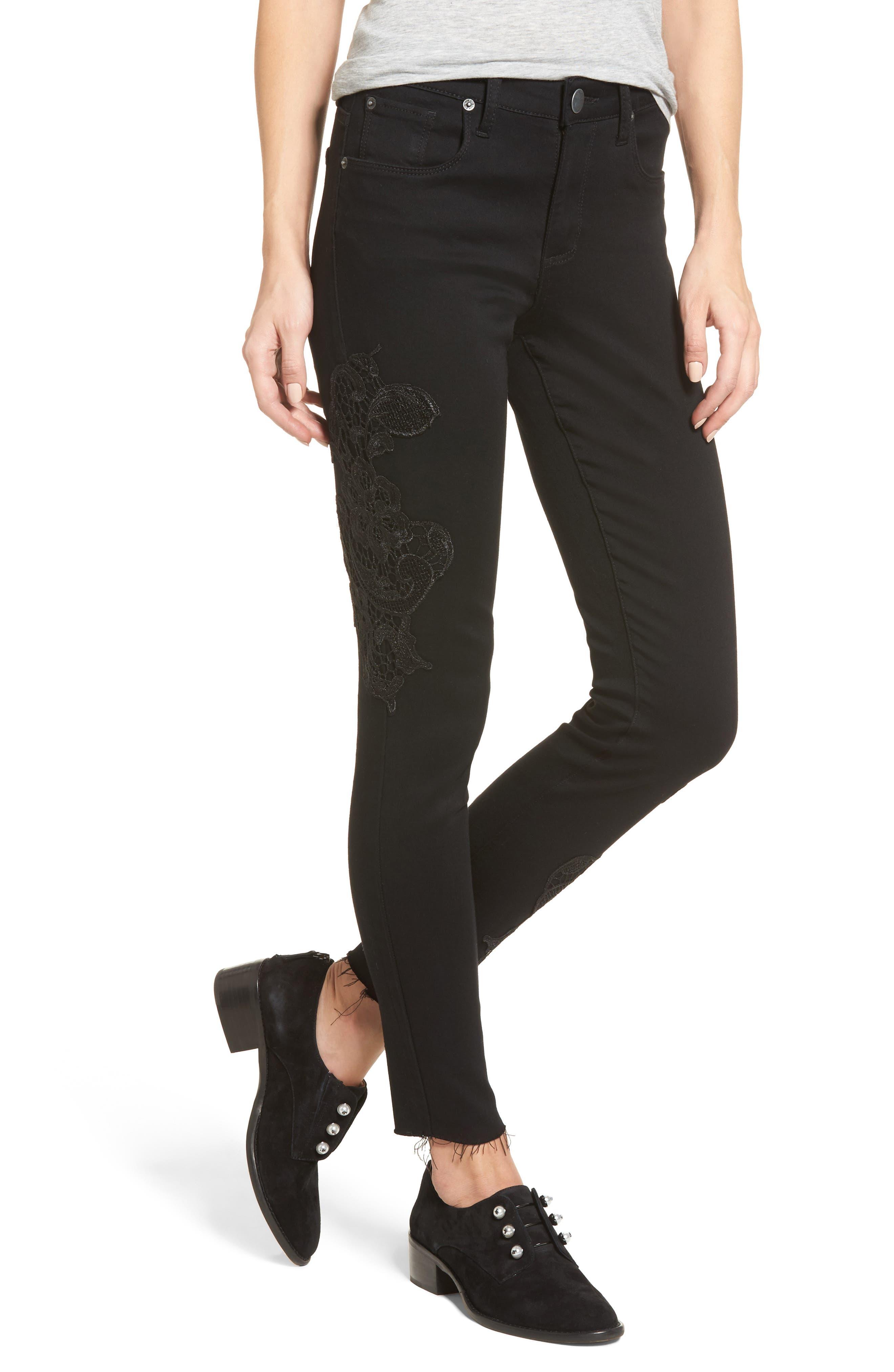 Piper Lace Appliqué Skinny Ankle Jeans,                         Main,                         color, Black