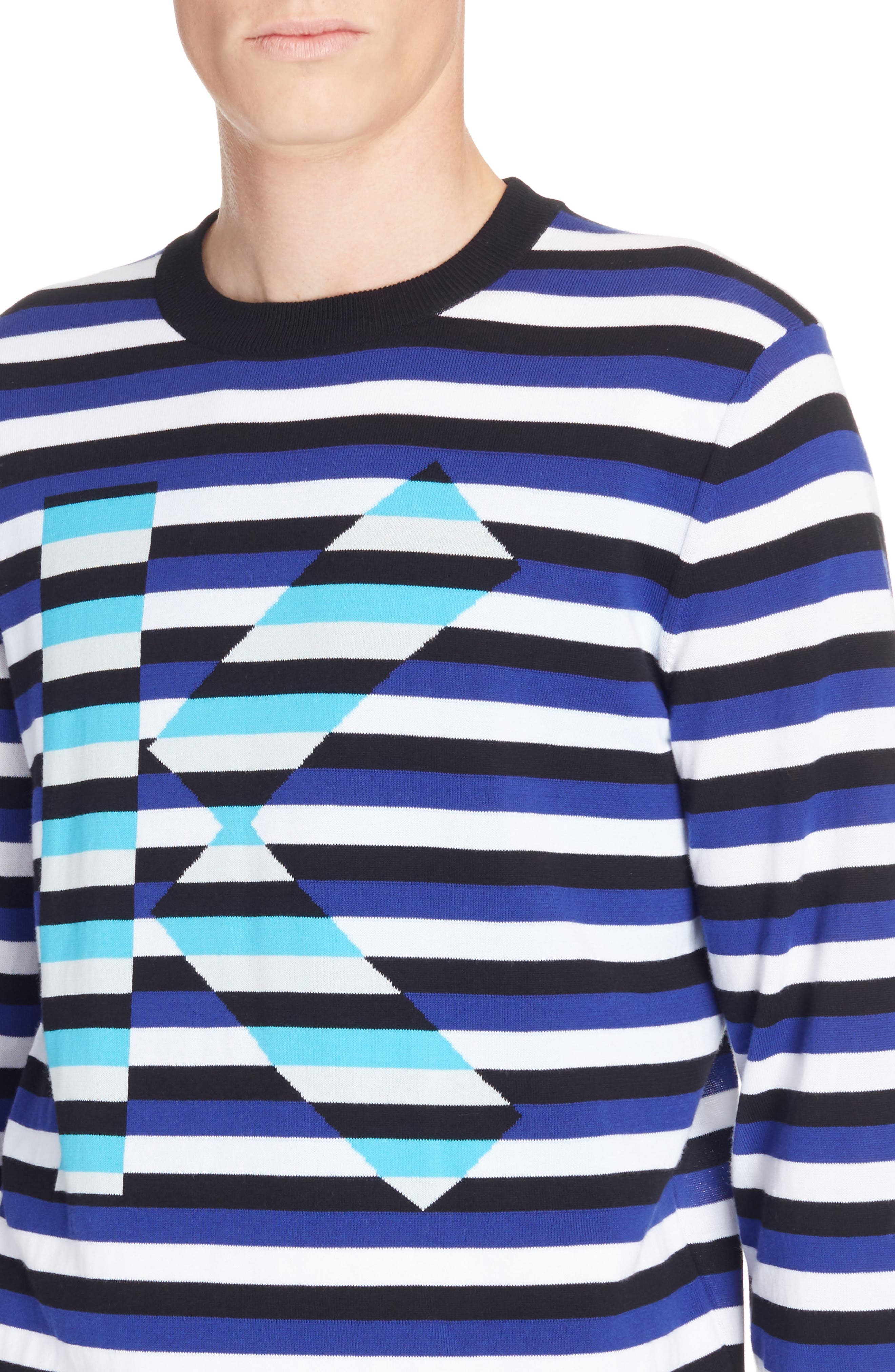 Large K Stripe Sweater,                             Alternate thumbnail 4, color,                             French Blue