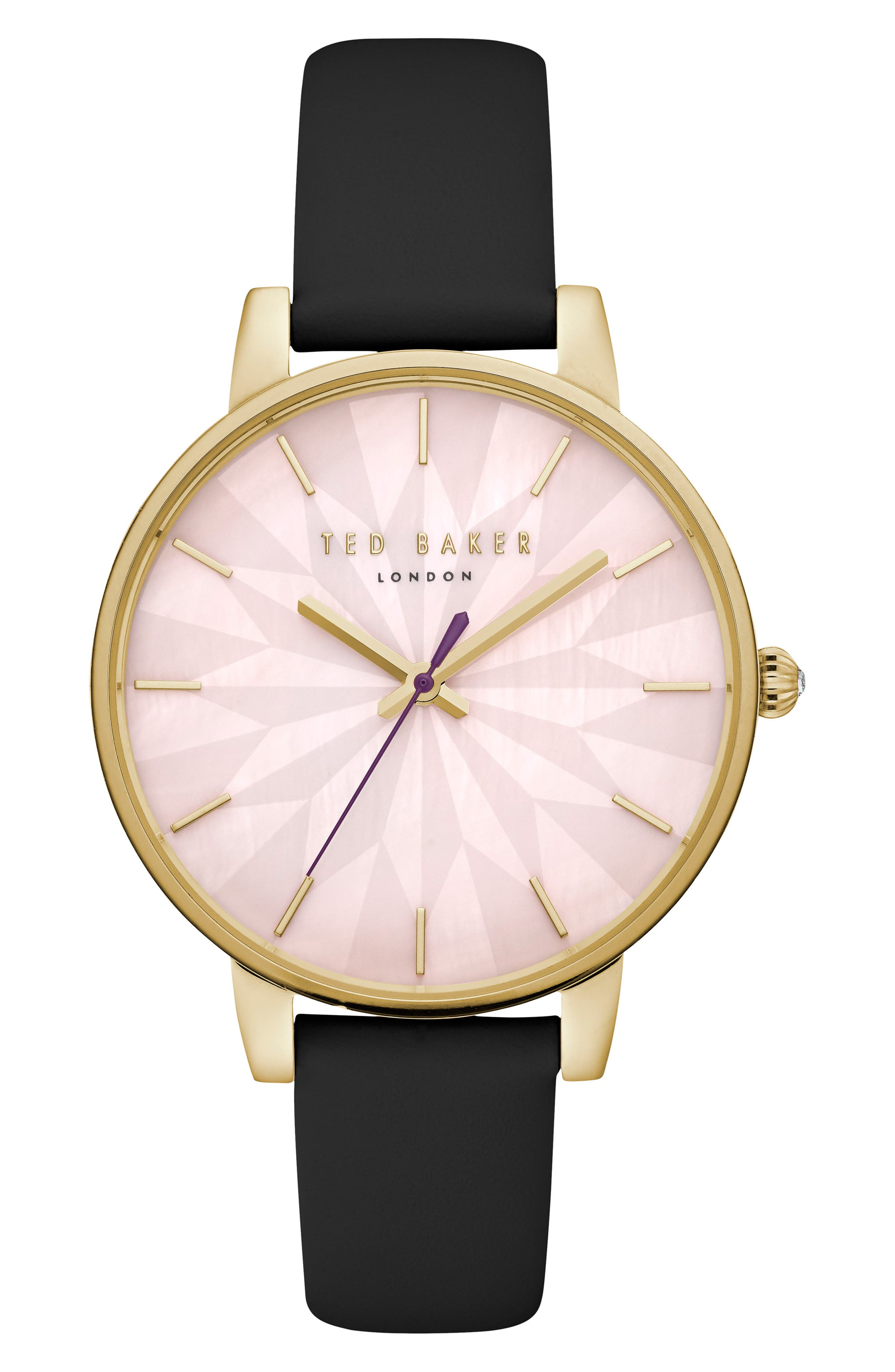 Kate Leather Strap Watch, 38mm,                         Main,                         color, Black/ Mop/ Gold