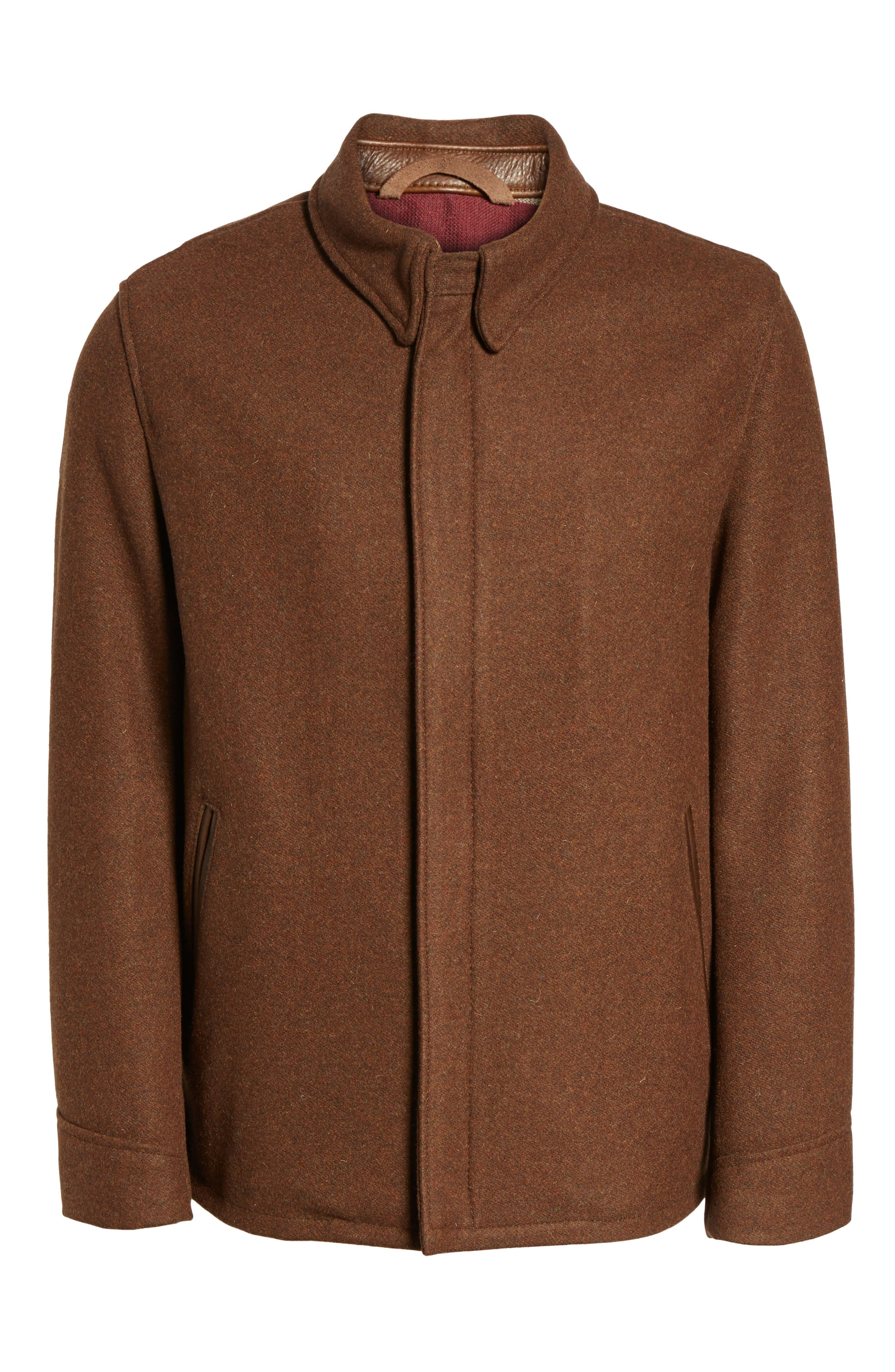 Liberty Wool Blend Zip Front Jacket,                             Alternate thumbnail 6, color,                             Brown