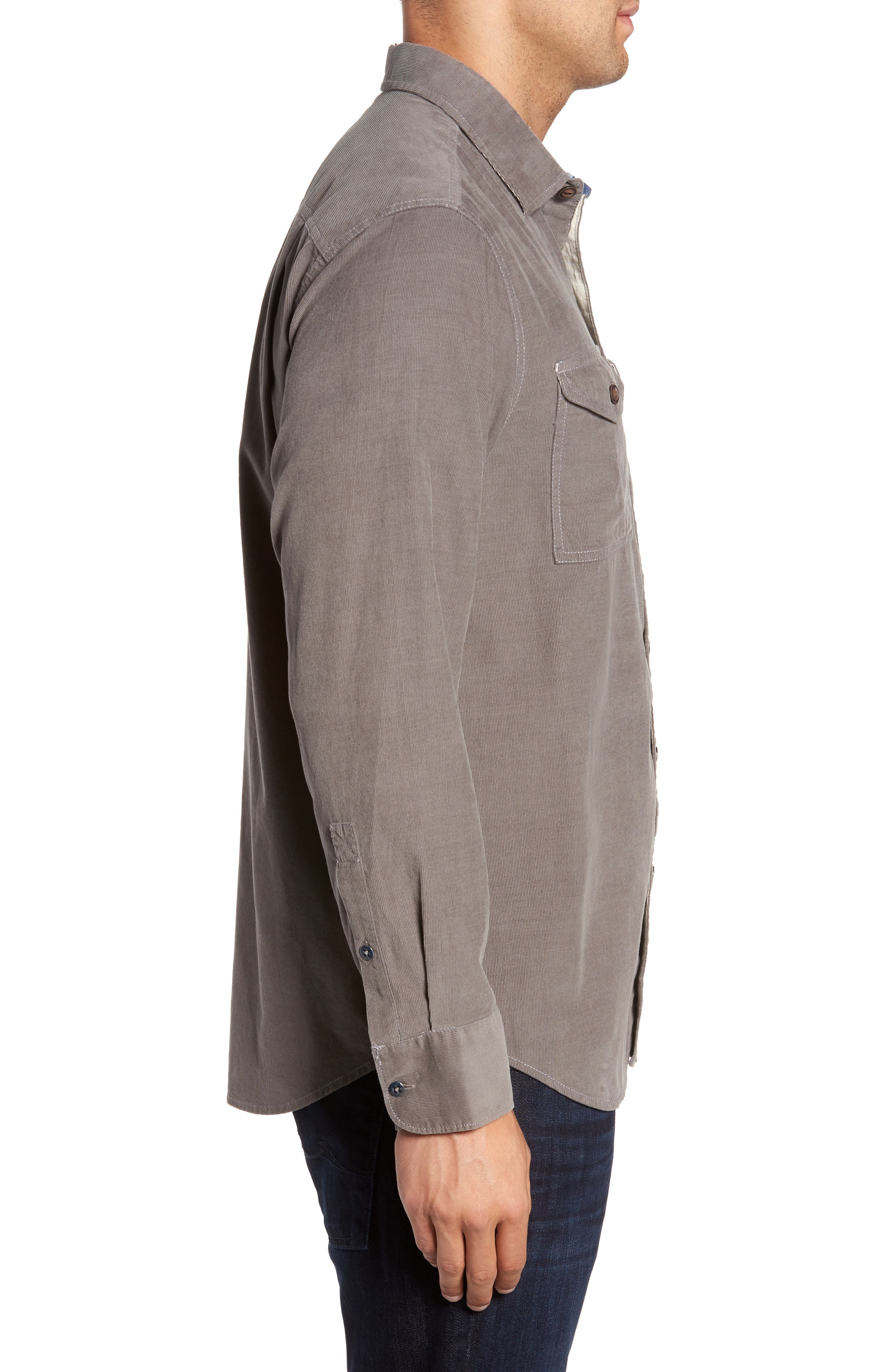 Harrison Cord Standard Fit Shirt,                             Alternate thumbnail 3, color,                             Pebble Grey