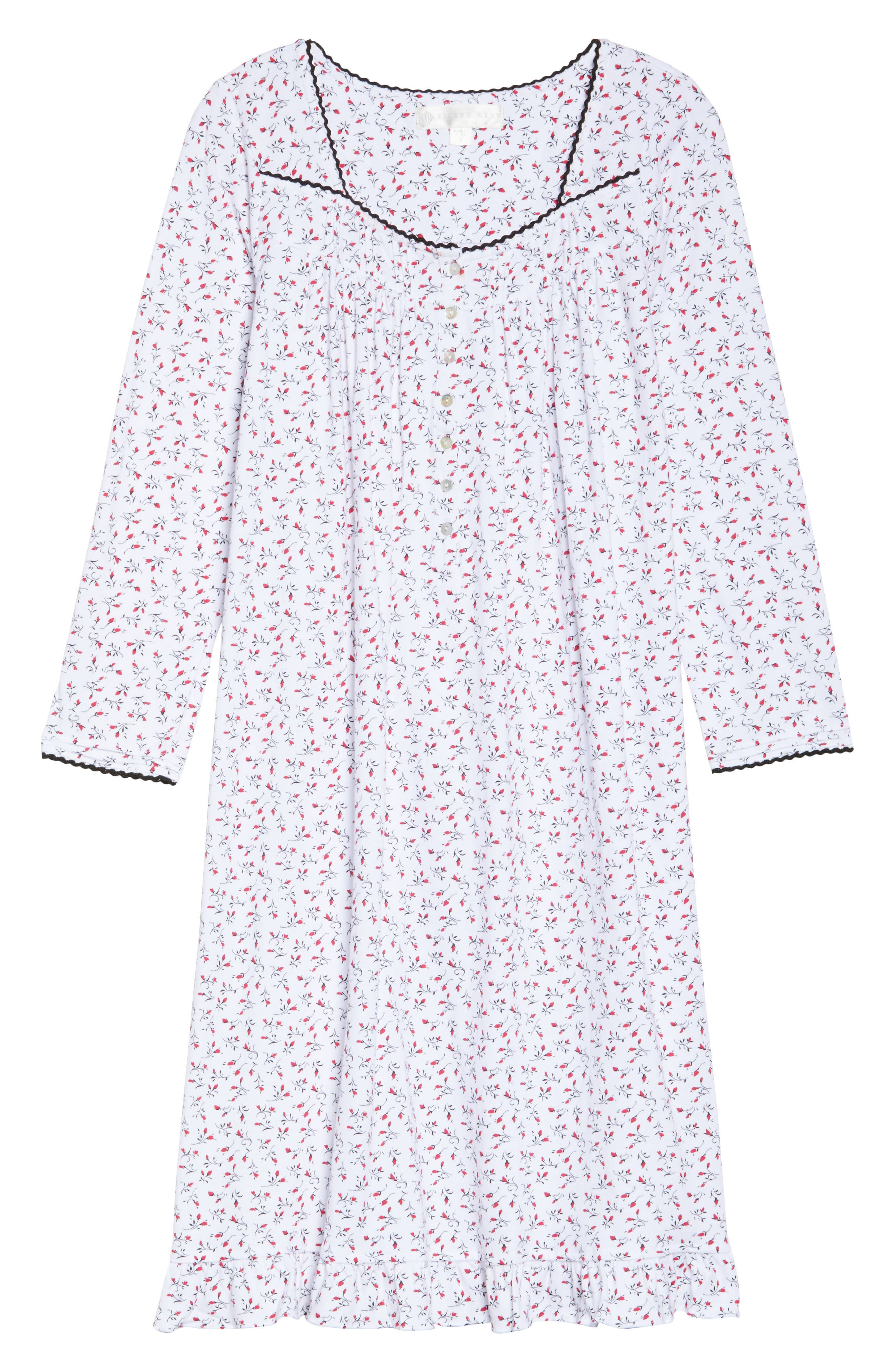 Short Nightgown,                             Alternate thumbnail 4, color,                             Red And Black Bud