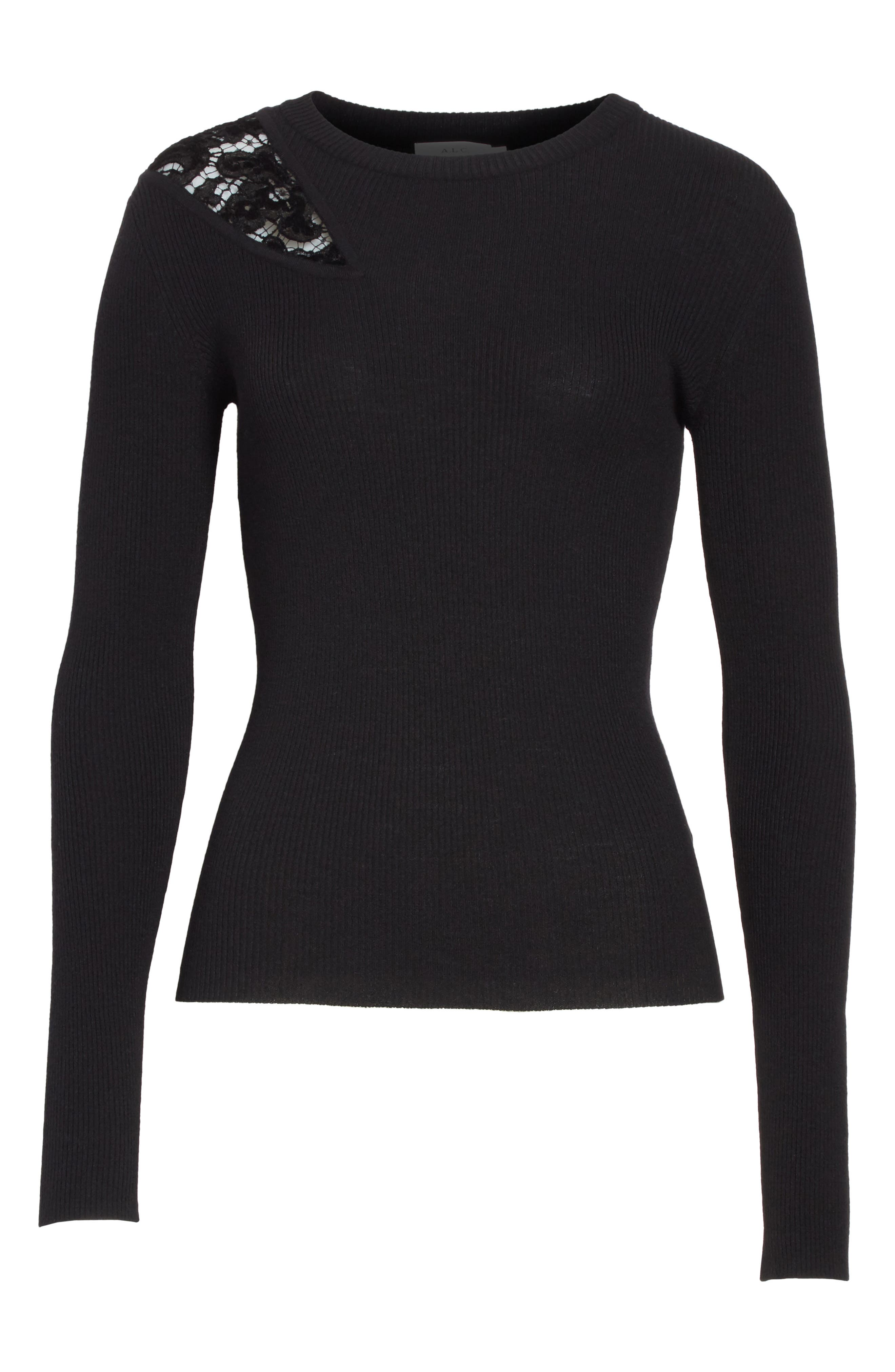 Terence Lace Inset Sweater,                             Alternate thumbnail 6, color,                             Black
