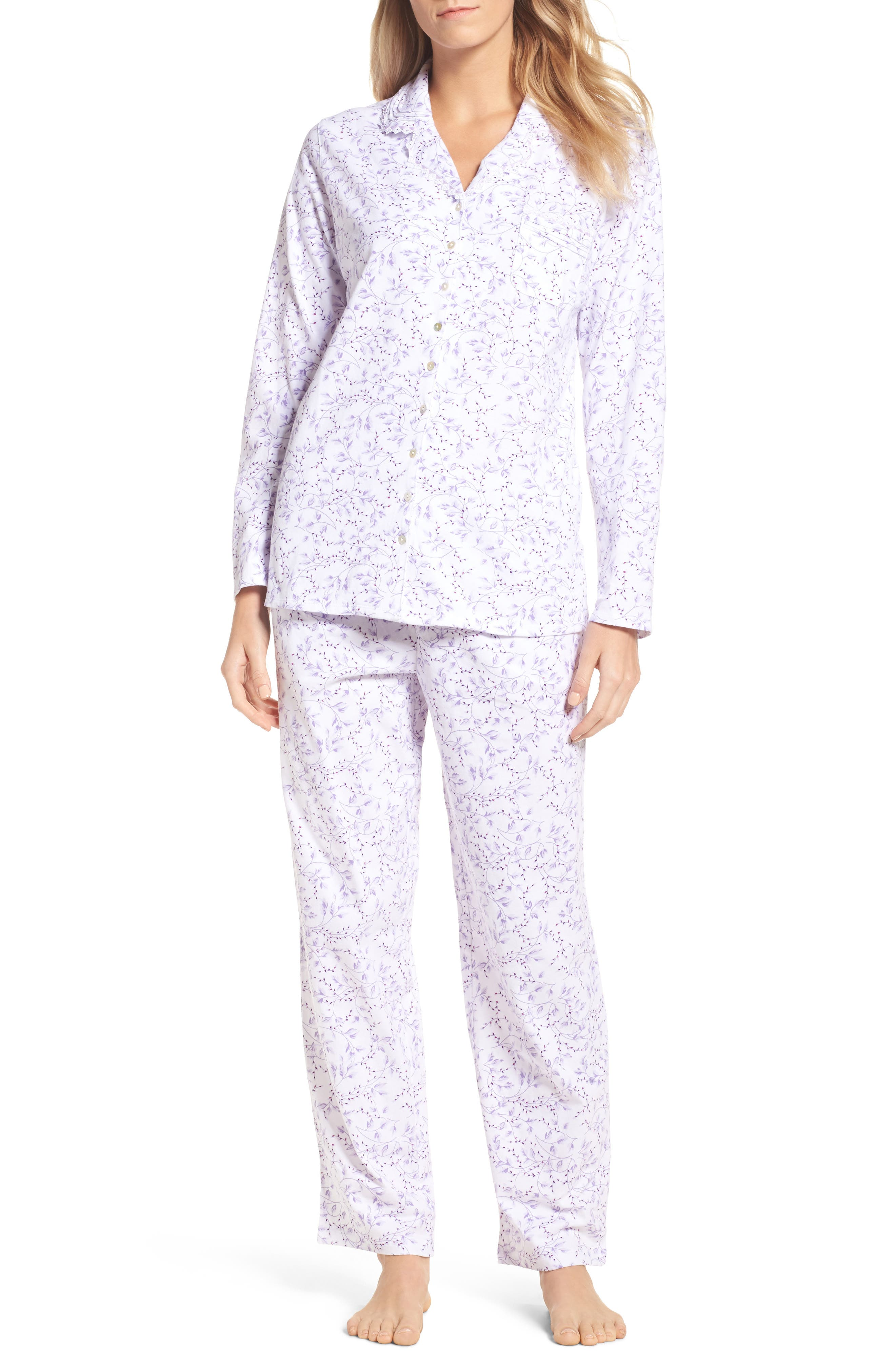 Notch Collar Pajamas,                         Main,                         color, White/ Floral