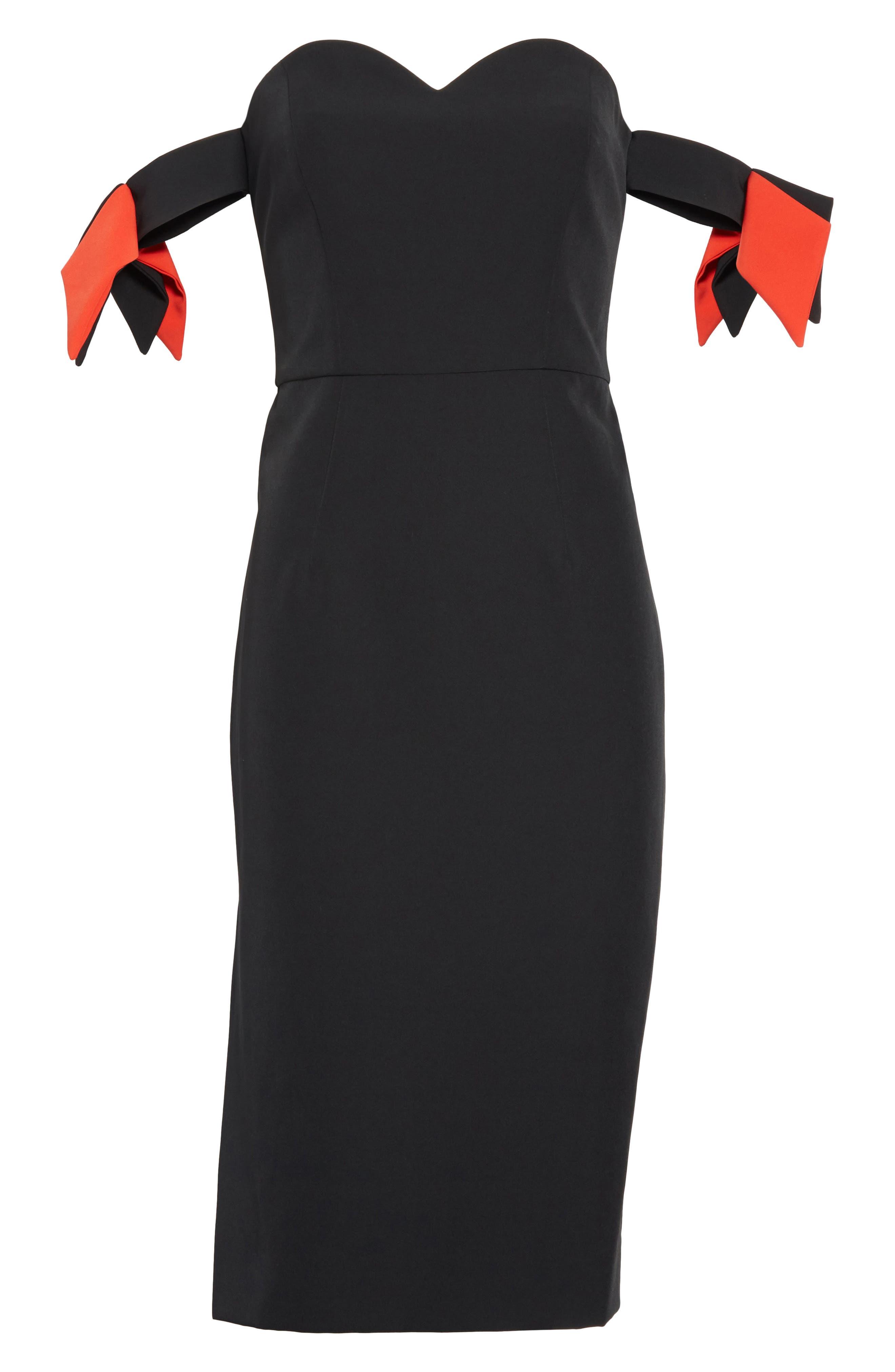 Brie Off the Shoulder Italian Cady Dress,                             Alternate thumbnail 6, color,                             Black