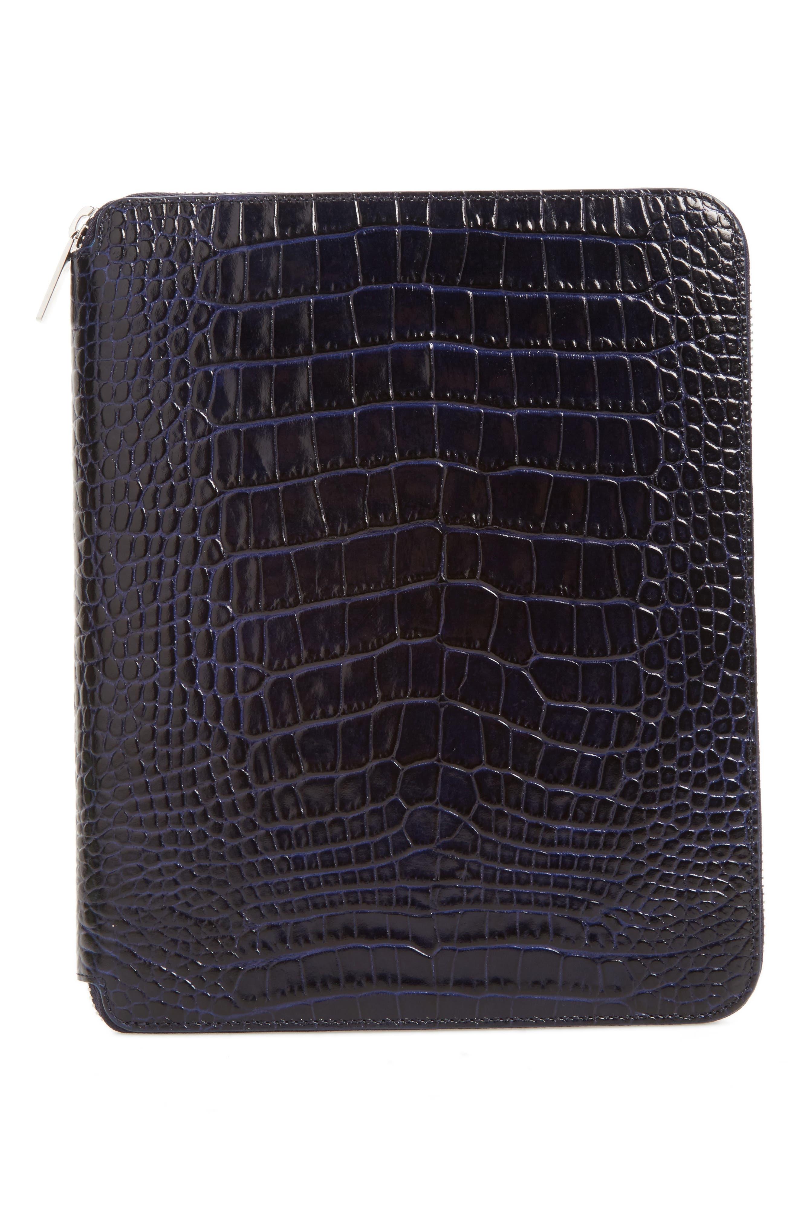 Mara Croc Embossed Zip Folder & A5 Notebook,                         Main,                         color, Navy