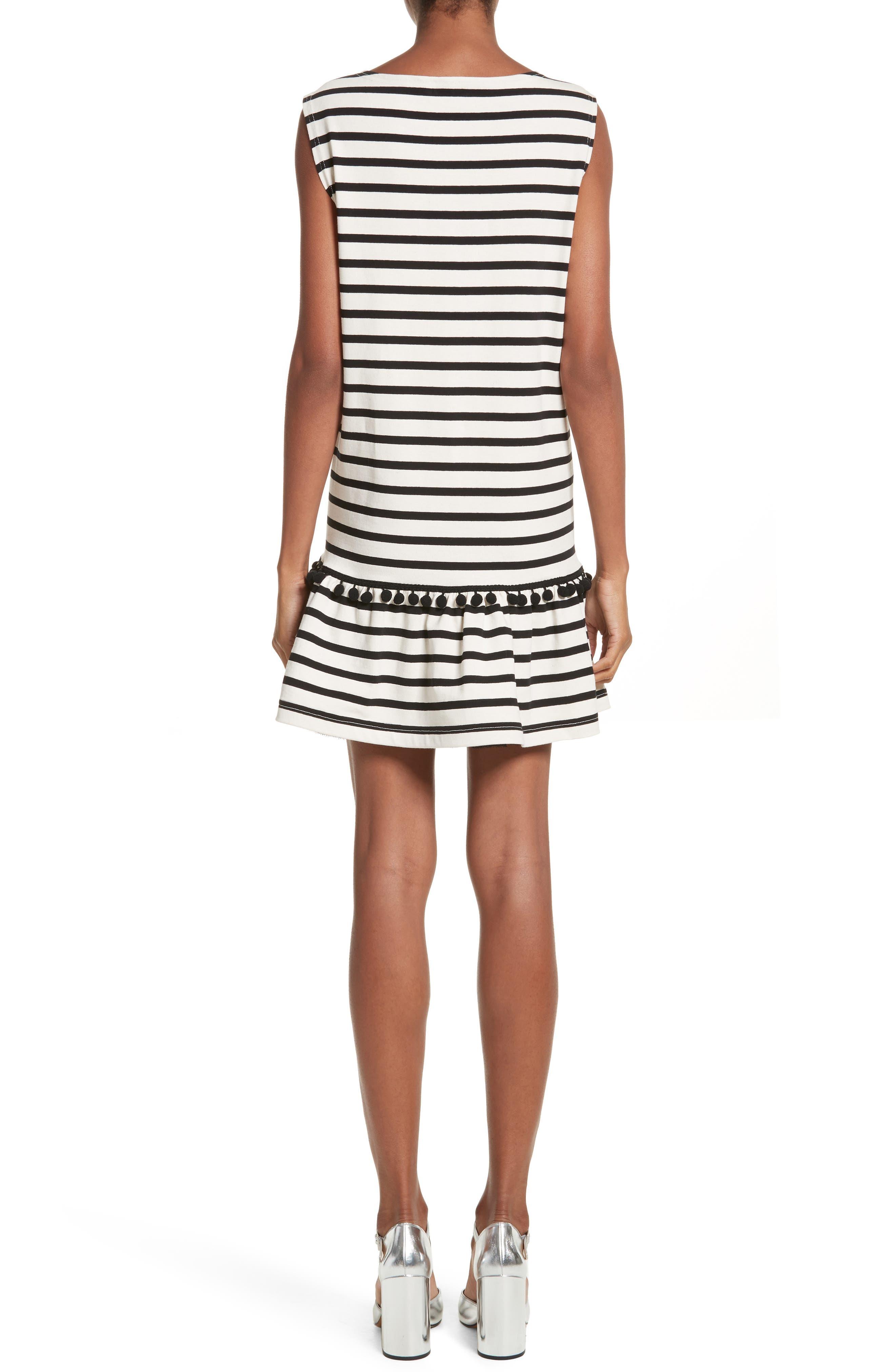 Pompom Stripe Drop Waist Dress,                             Alternate thumbnail 2, color,                             Ecru/ Black
