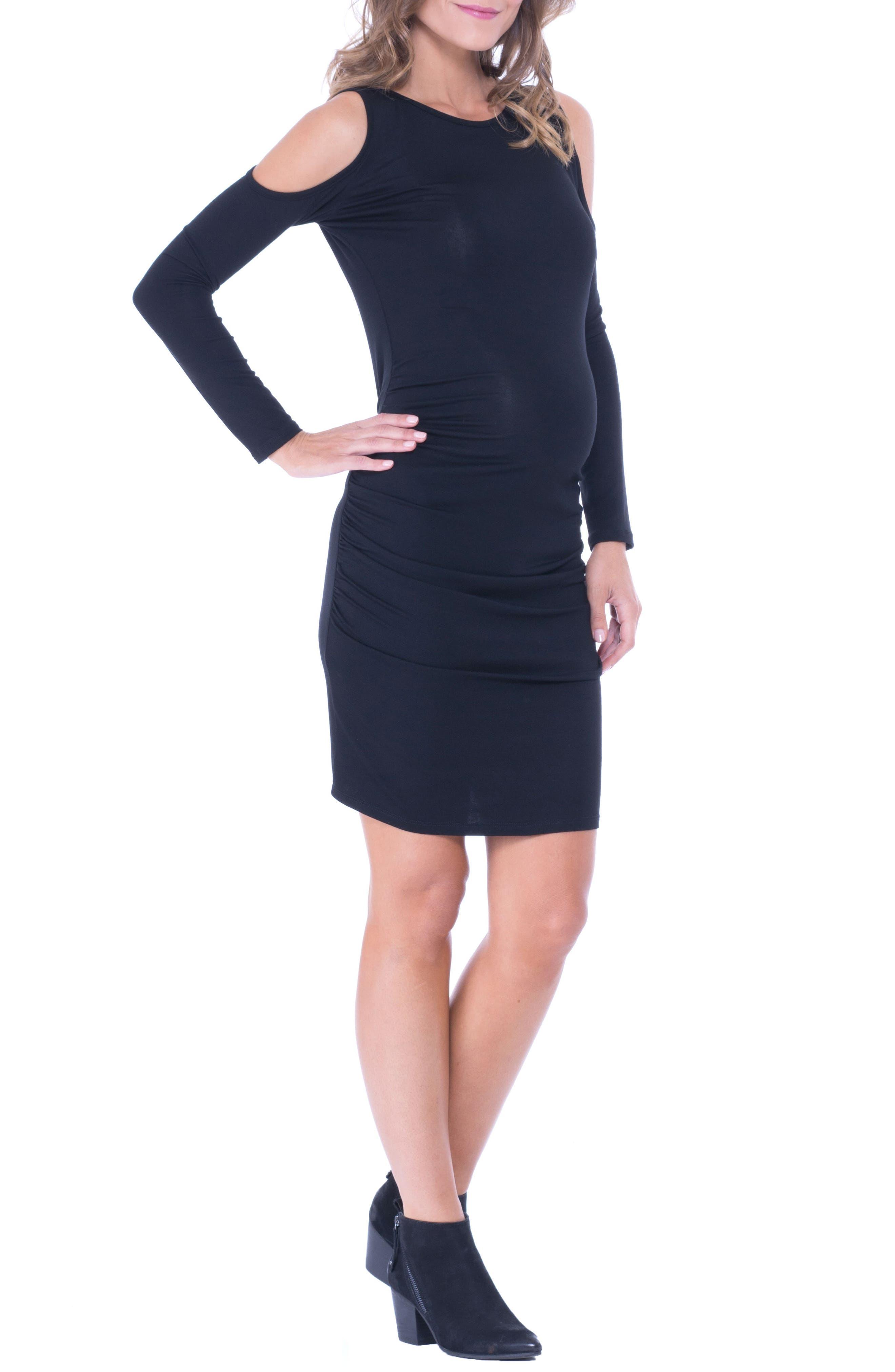 Cold Shoulder Ruched Sheath Dress,                             Alternate thumbnail 4, color,                             Black
