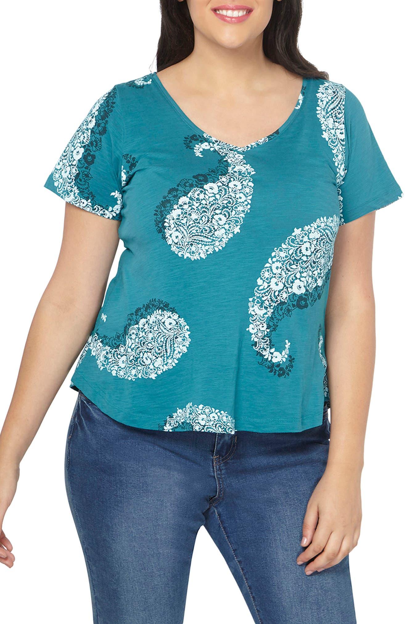 Alternate Image 1 Selected - Evan Paisley Short Sleeve Shirt (Plus Size)