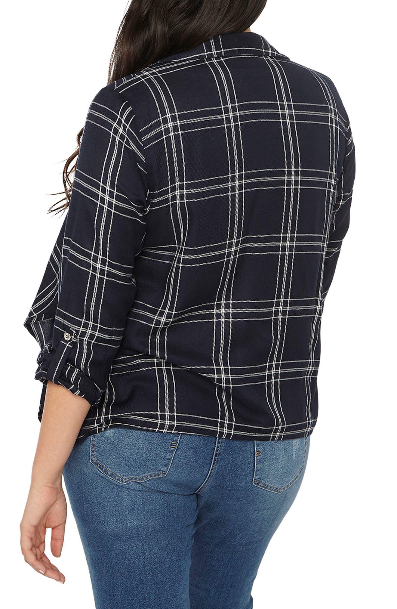 Alternate Image 3  - Evans Check Plaid Jacket (Plus Size)