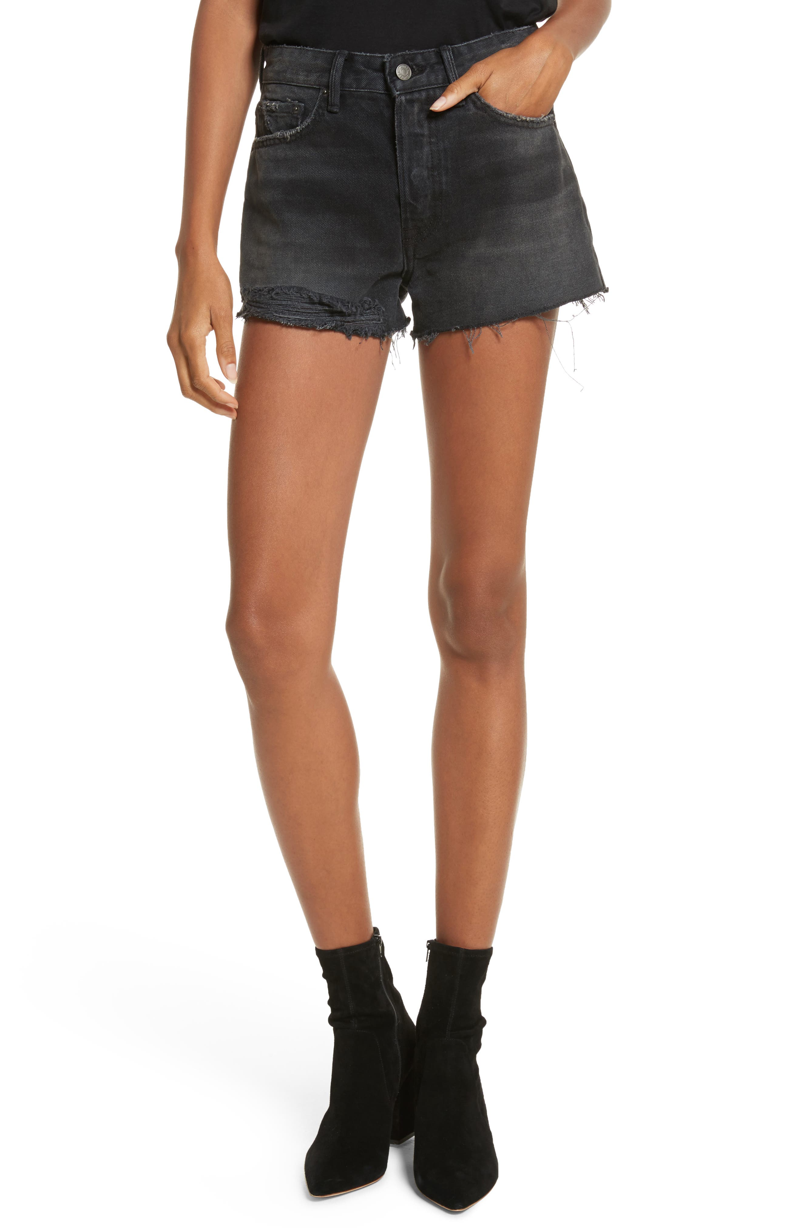 Cindy Rigid High Waist Denim Shorts,                         Main,                         color, High Tide