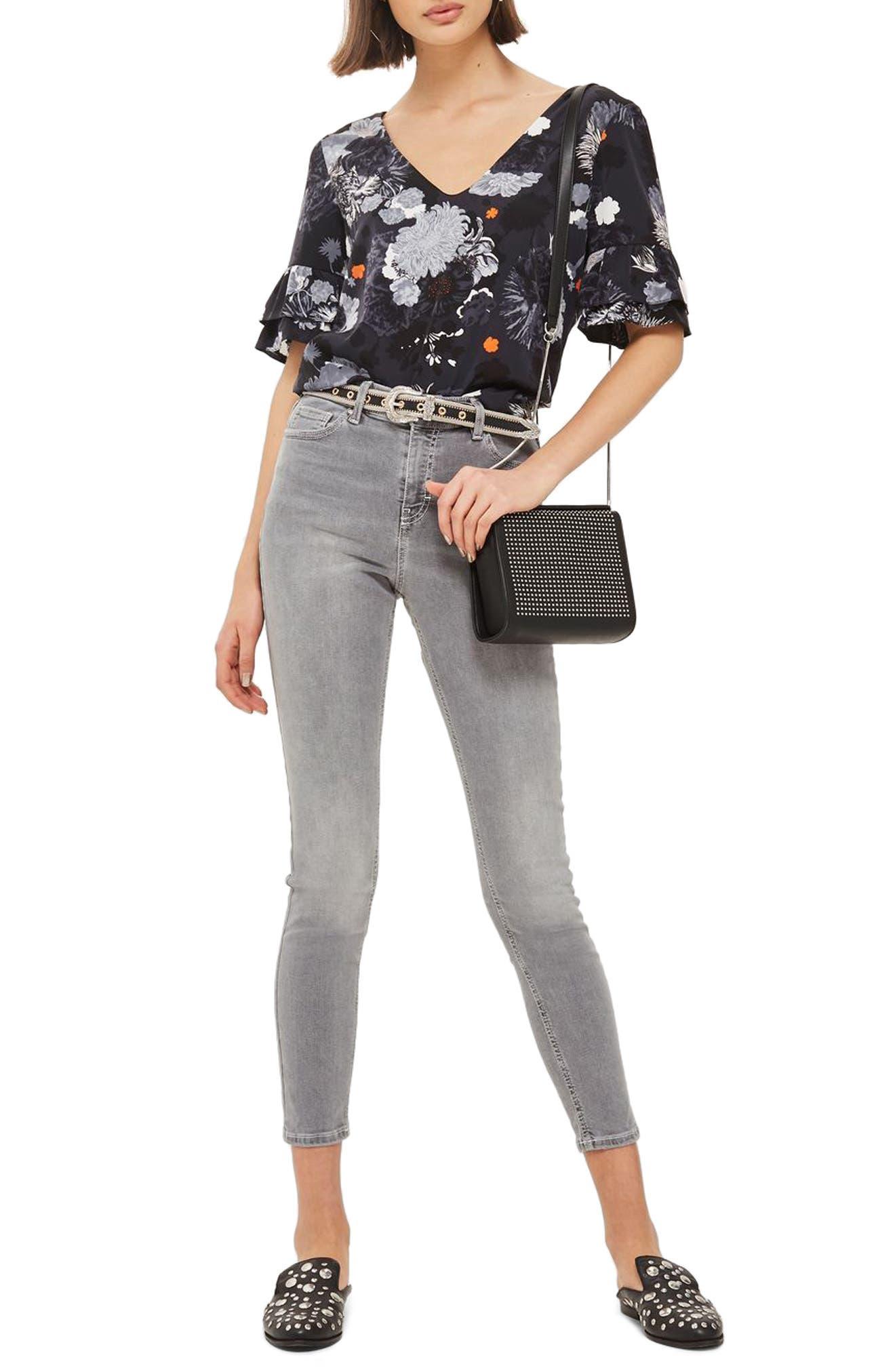 Jamie High Waist Ankle Skinny Jeans,                             Main thumbnail 1, color,                             Grey