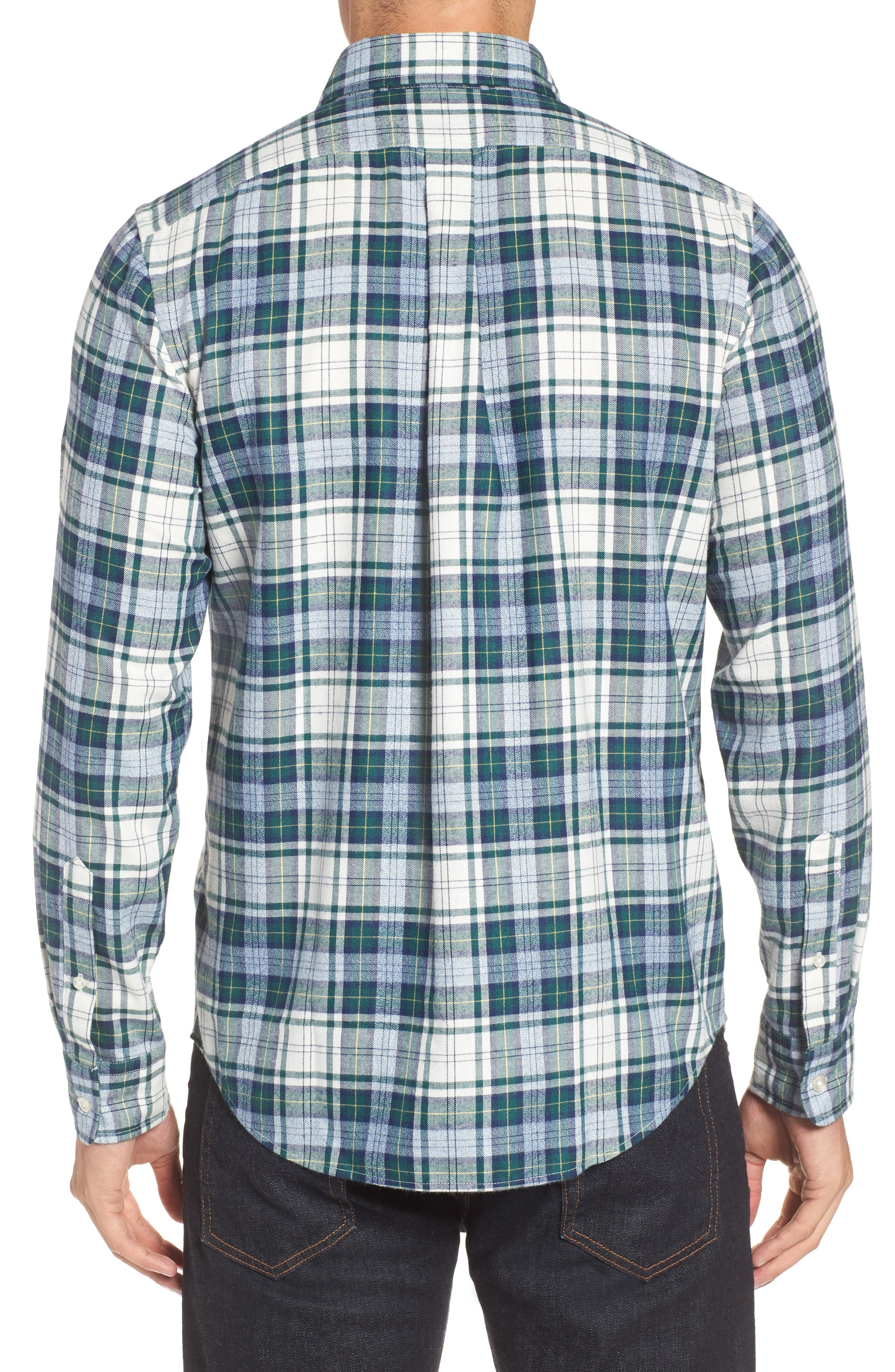 Tucker Hayward Point Slim Fit Plaid Sport Shirt,                             Alternate thumbnail 2, color,                             Charleston Green